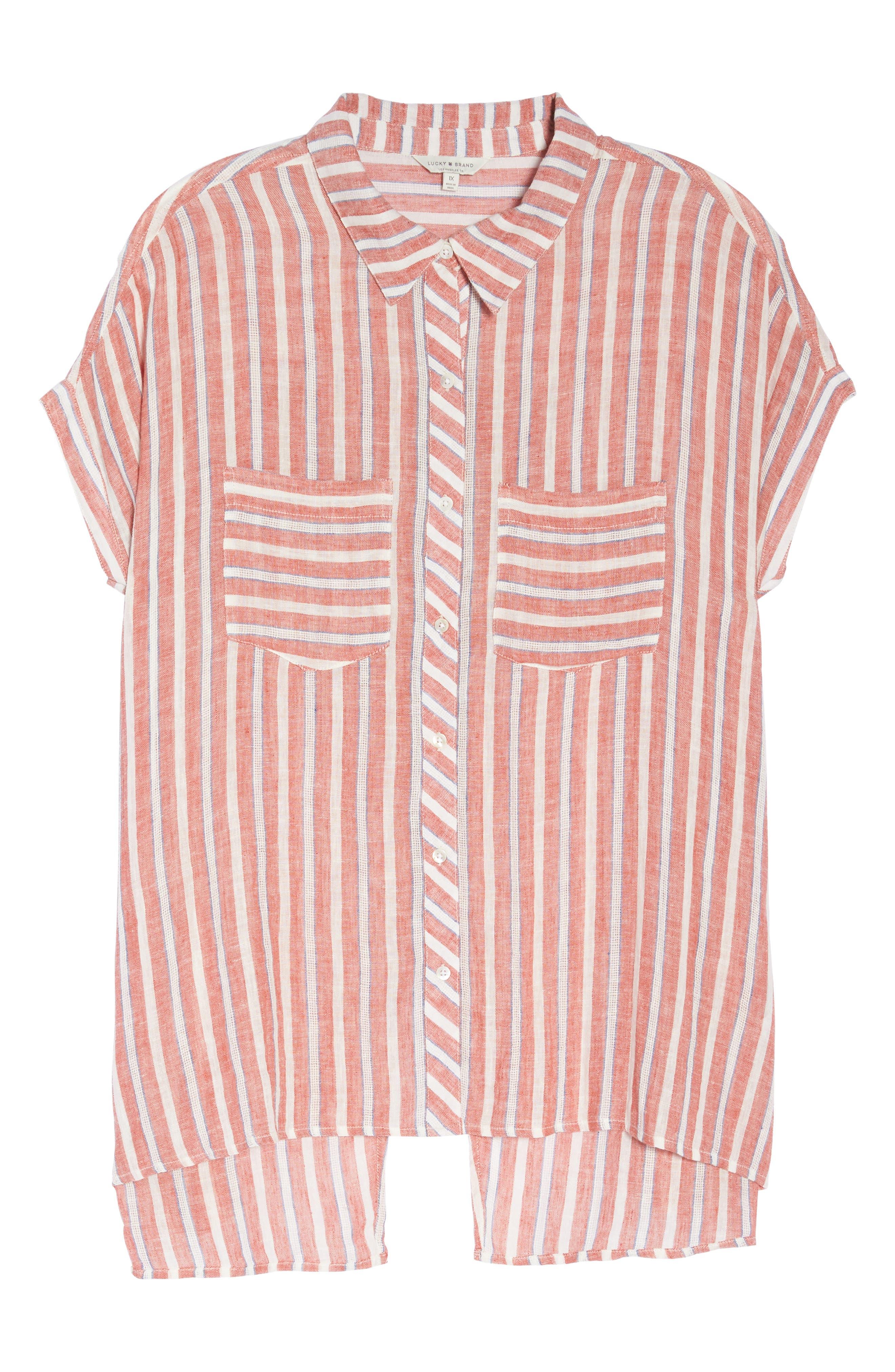 Tie Back Stripe Shirt,                             Alternate thumbnail 7, color,                             610