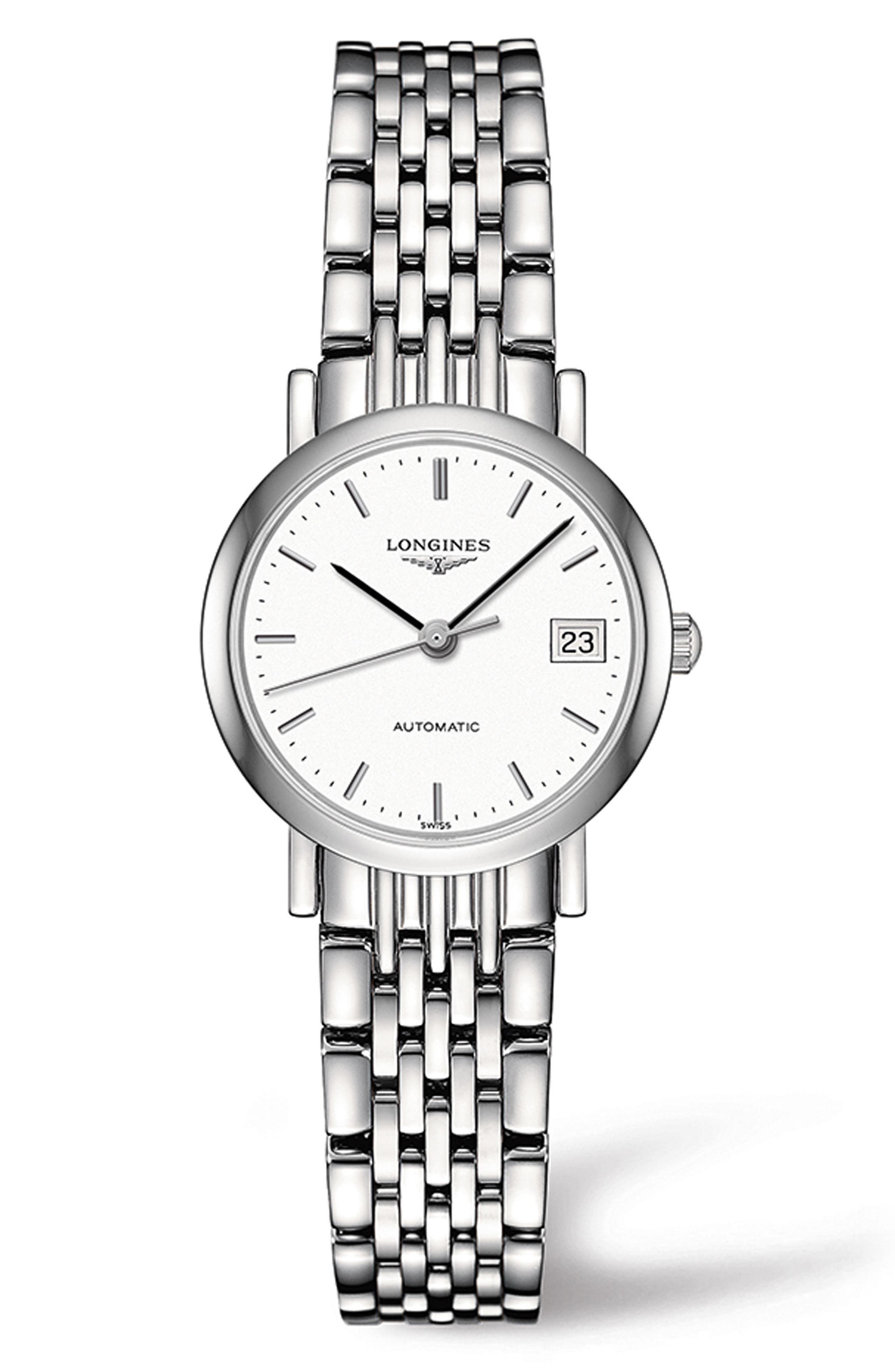 Elegant Automatic Bracelet Watch, 25.5mm,                             Main thumbnail 1, color,                             SILVER/ WHITE/ SILVER