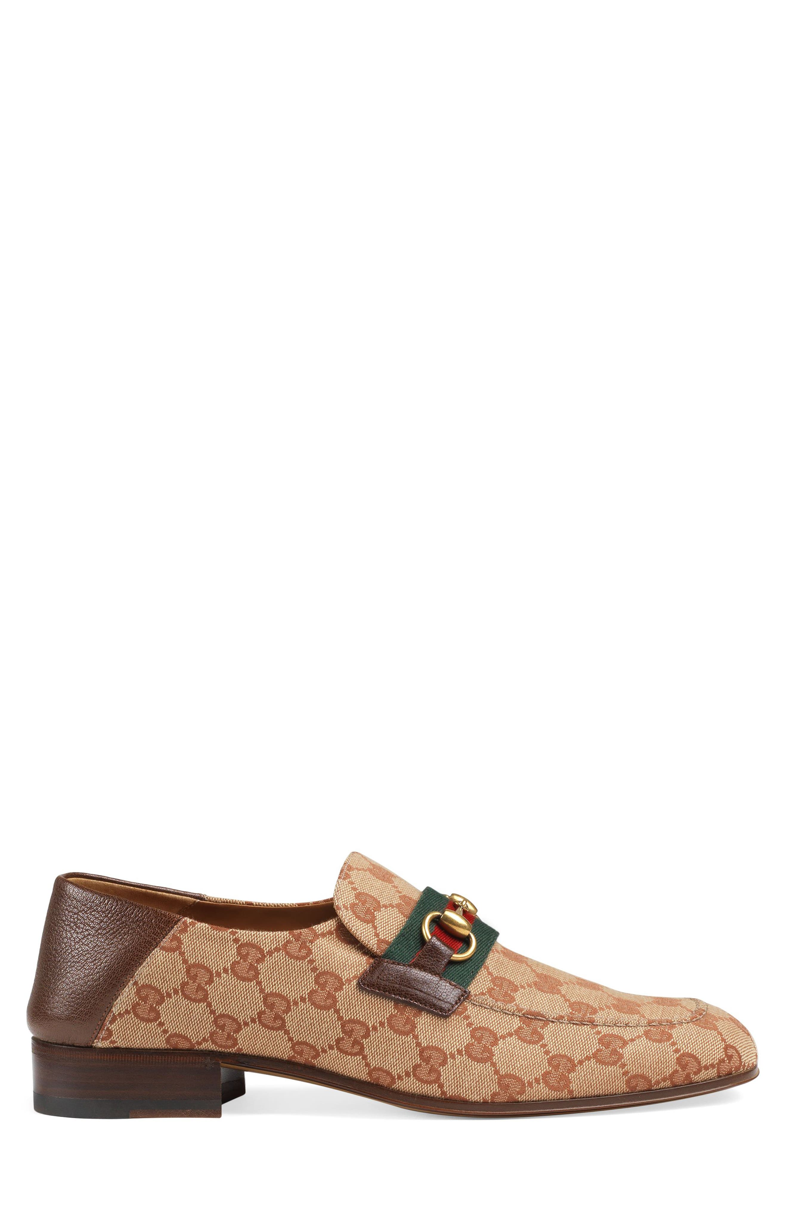 GUCCI,                             Horsebit Collapsible Leather Loafer,                             Alternate thumbnail 3, color,                             BEIGE/ ROSE