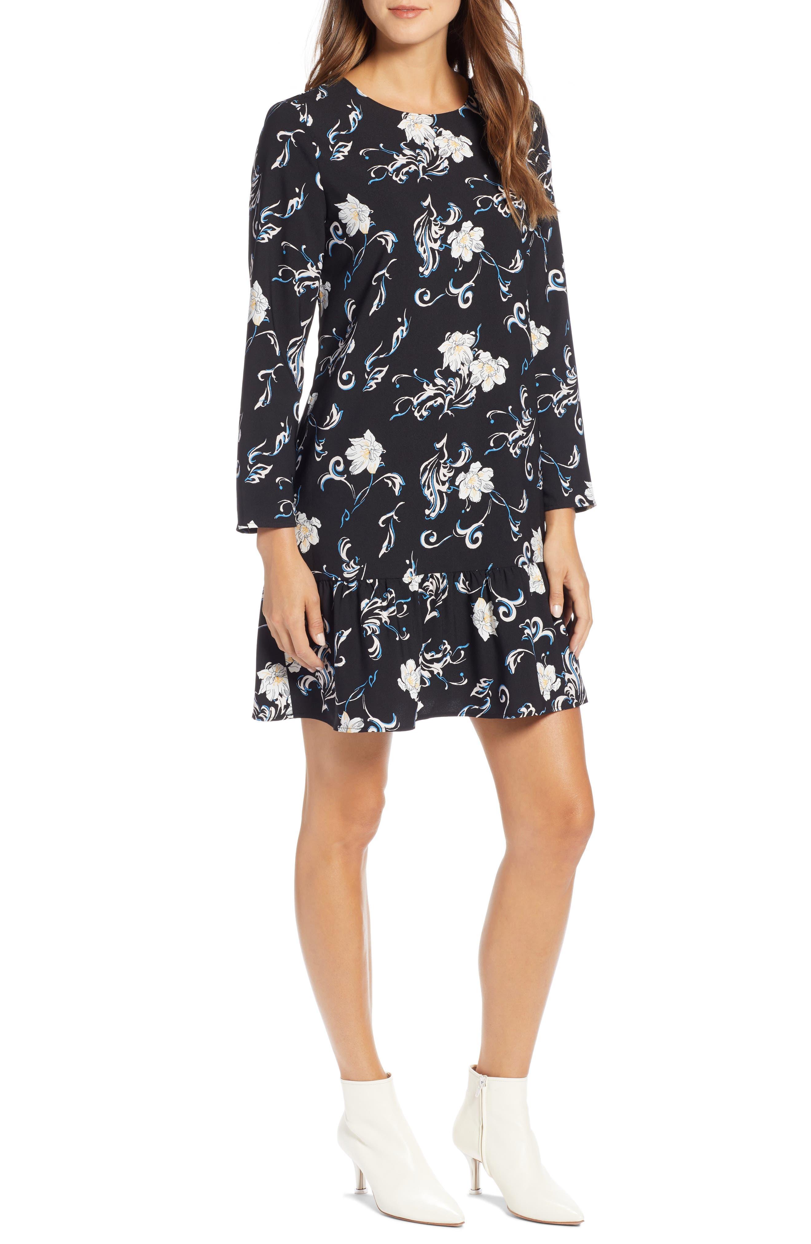 Button Back Ruffle Hem Dress,                         Main,                         color, BLACK FLORAL PRINT