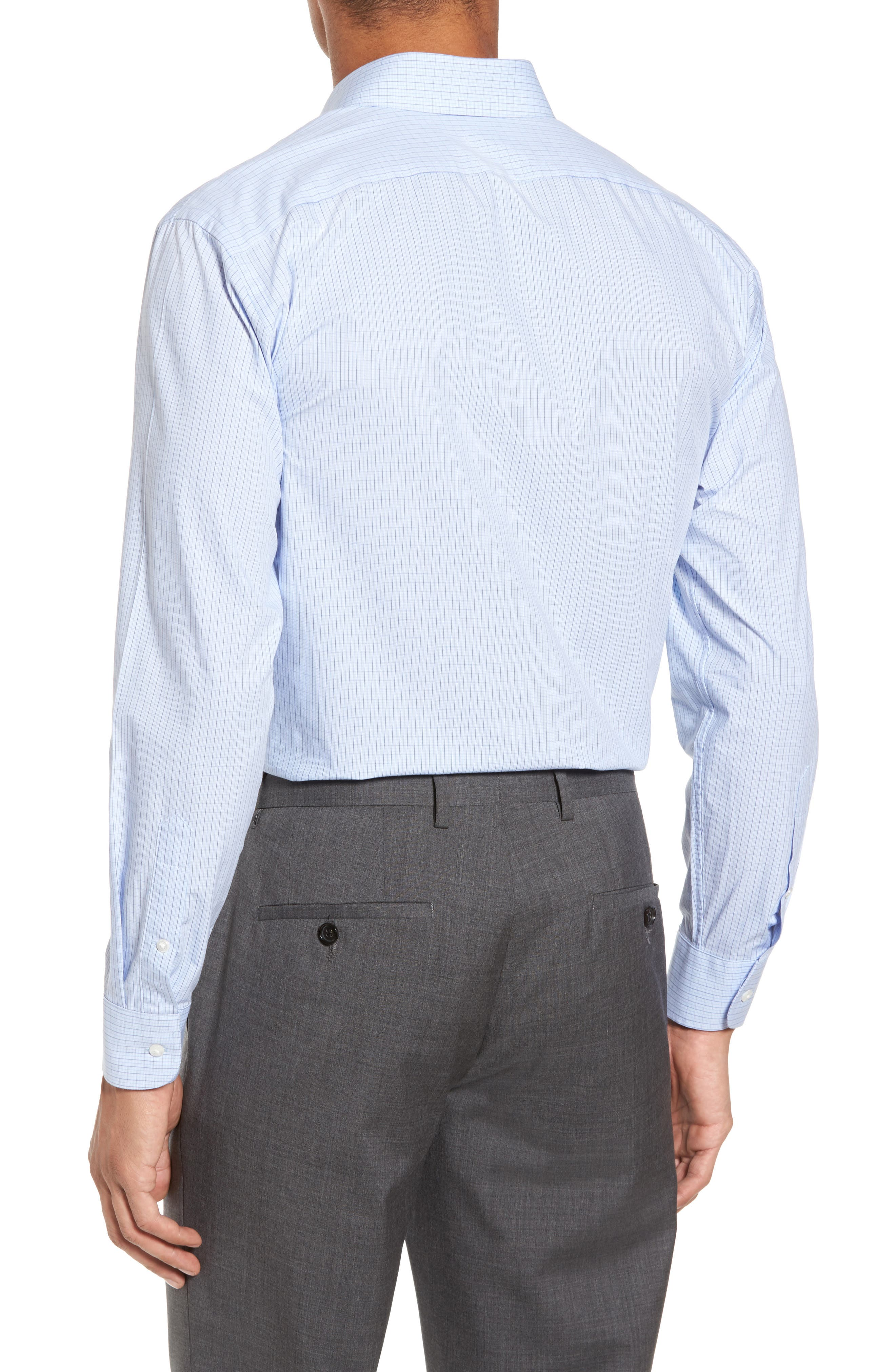 Tech-Smart Trim Fit Stretch Check Dress Shirt,                             Alternate thumbnail 2, color,