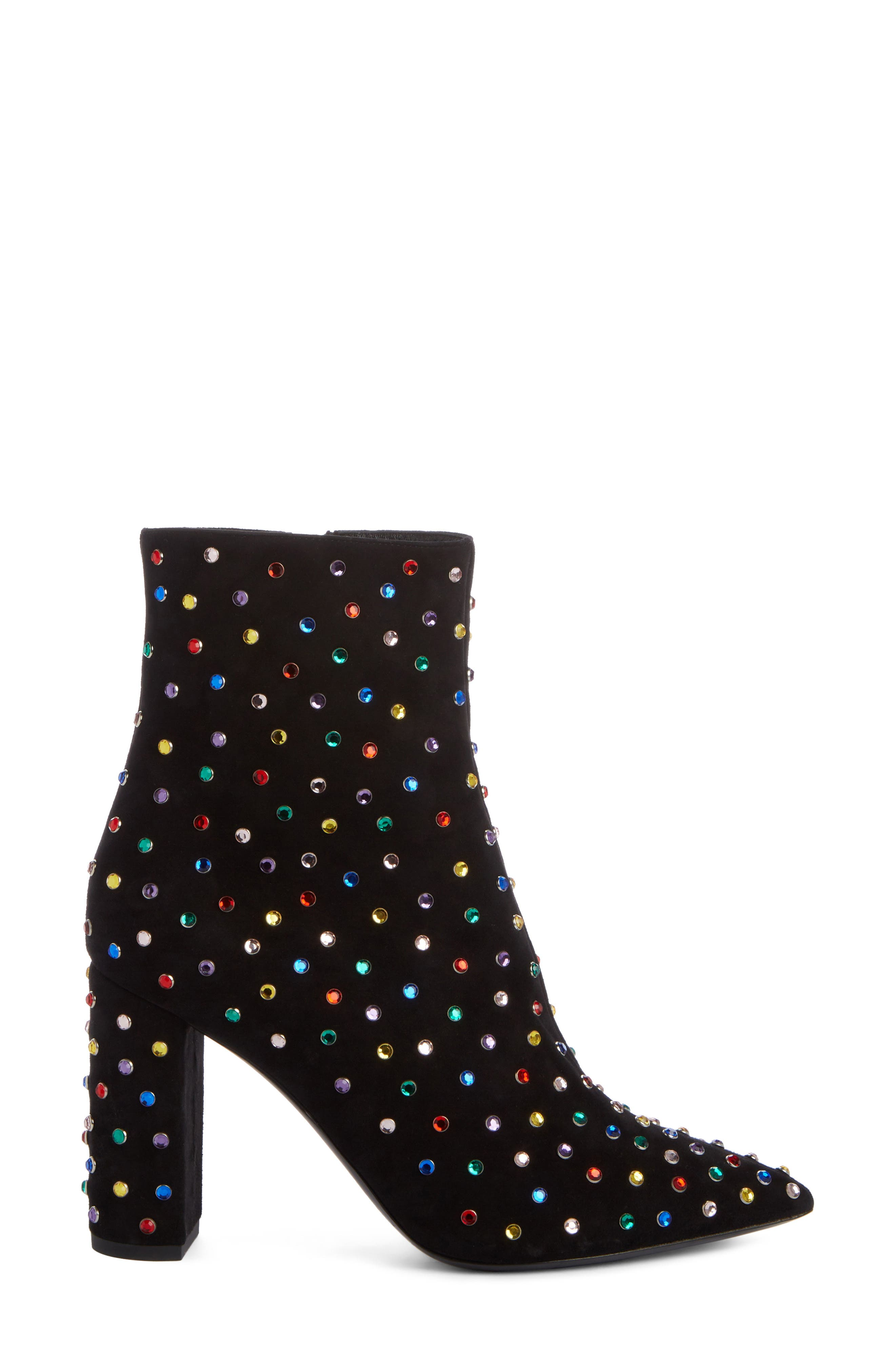 Betty Crystal Stud Pointy Toe Bootie,                             Alternate thumbnail 3, color,                             BLACK