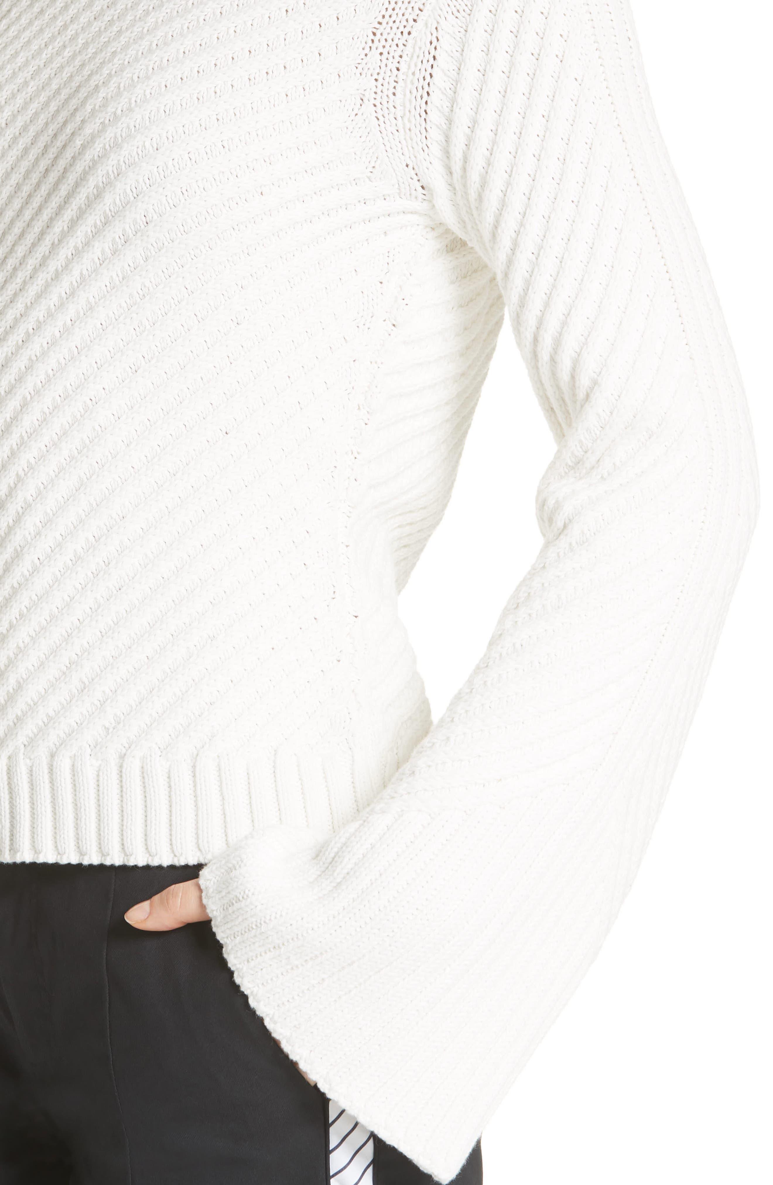 Lauraly Cutout Back Sweater,                             Alternate thumbnail 4, color,                             PORCELAIN