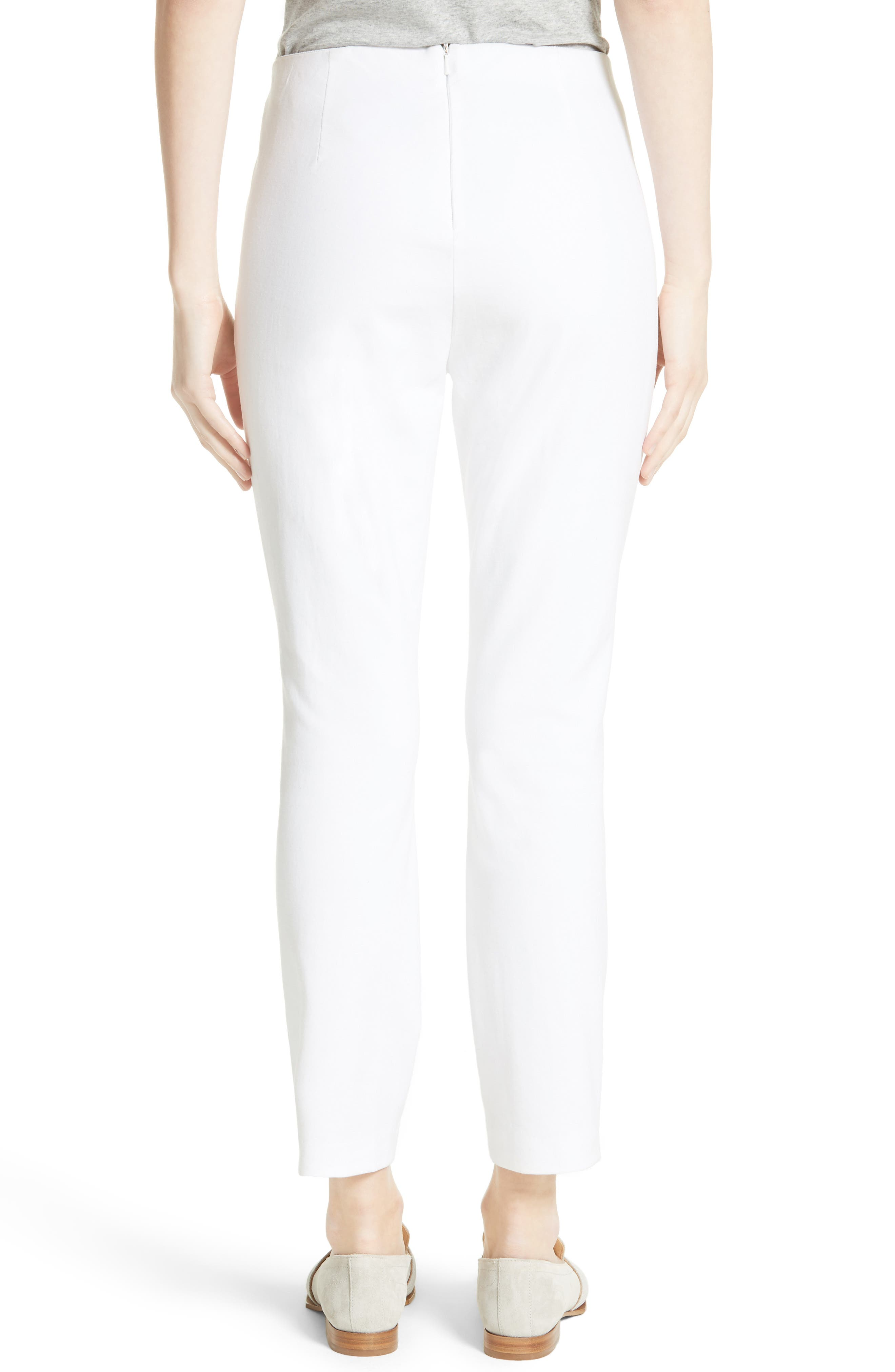 'Simone' Slim Ankle Pants,                             Alternate thumbnail 2, color,                             WHITE