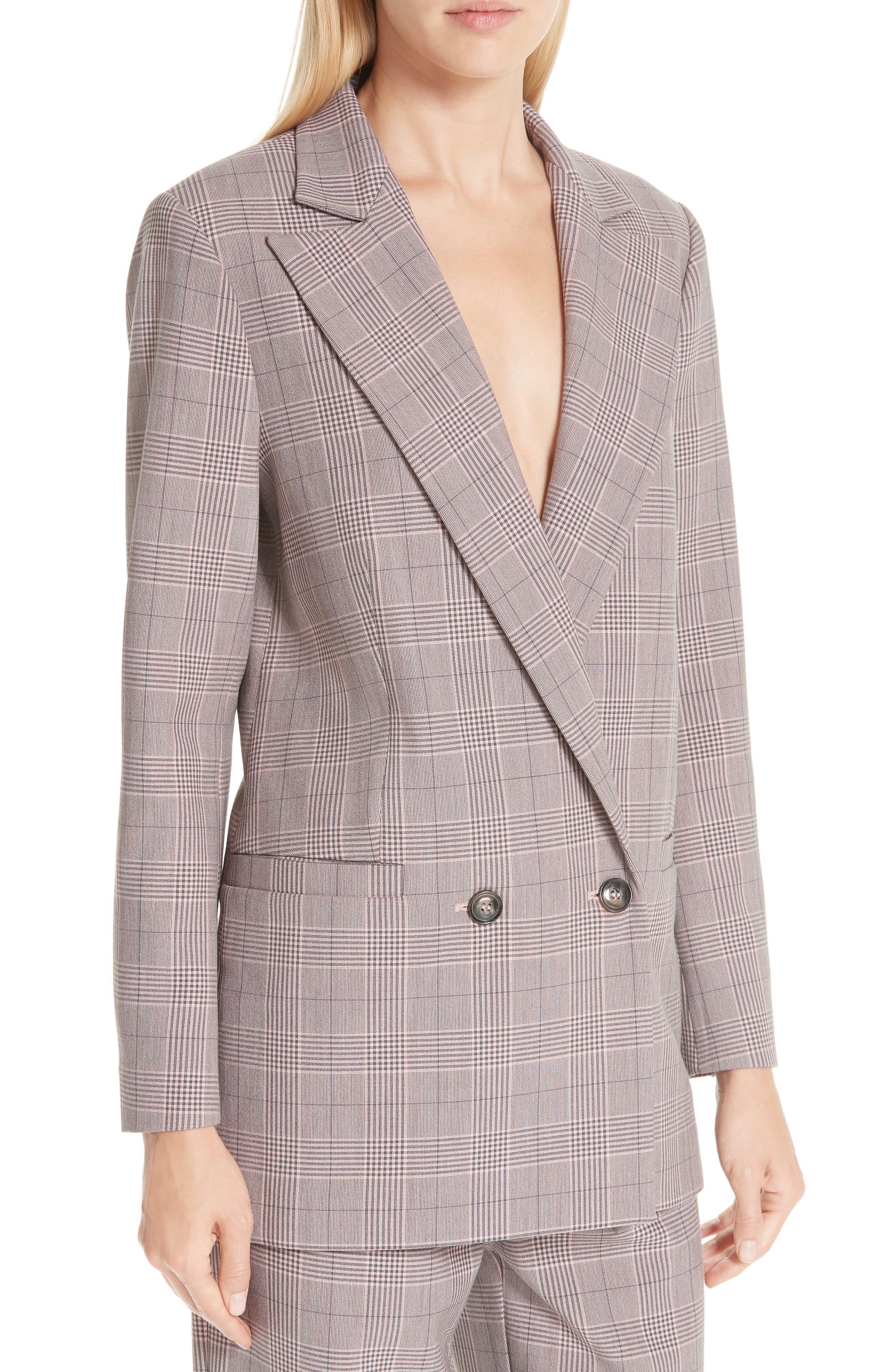 Suiting Blazer,                             Alternate thumbnail 4, color,                             SILVER PINK 499