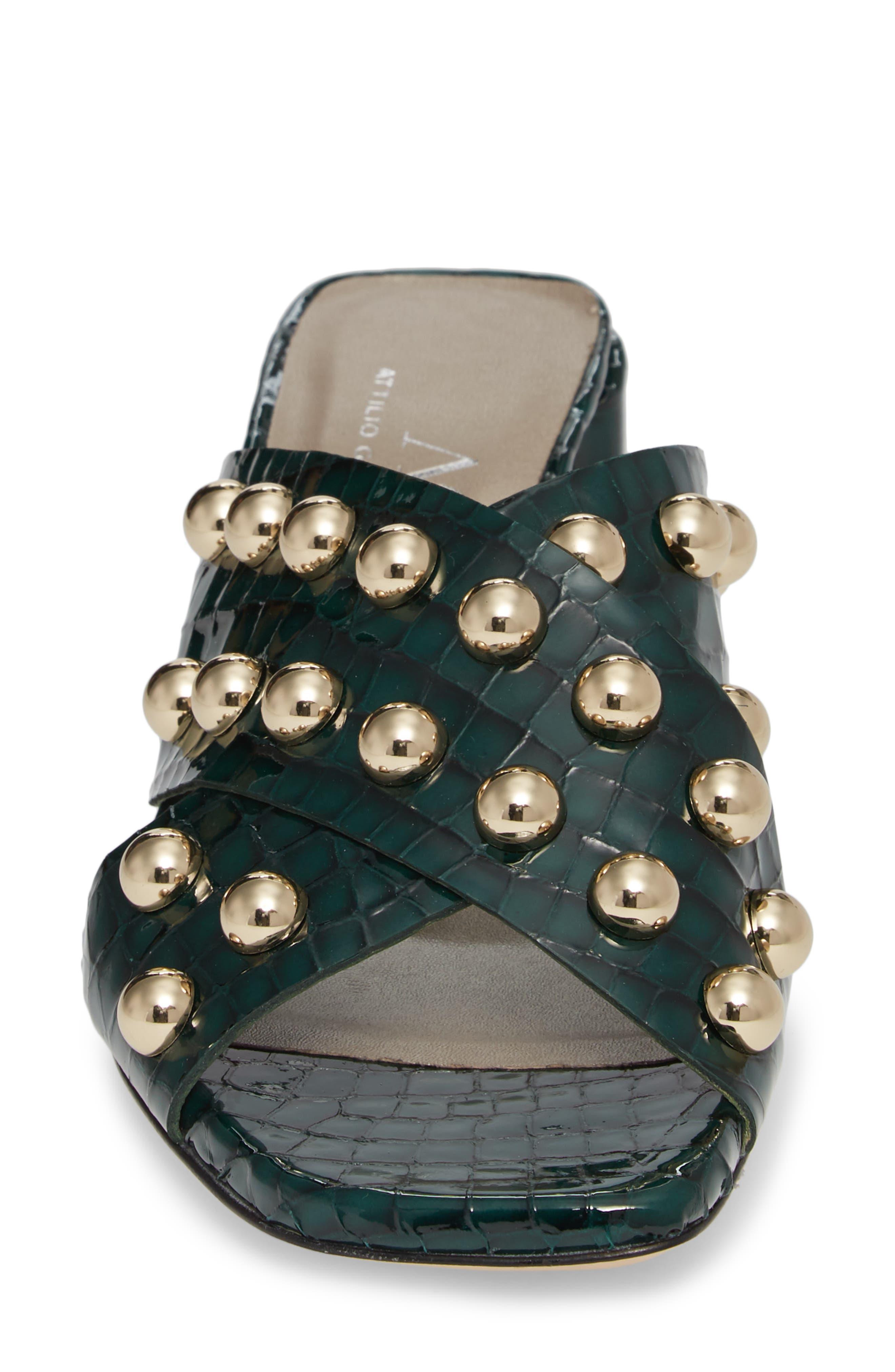 Studded Block Heel Slide Sandal,                             Alternate thumbnail 4, color,                             301