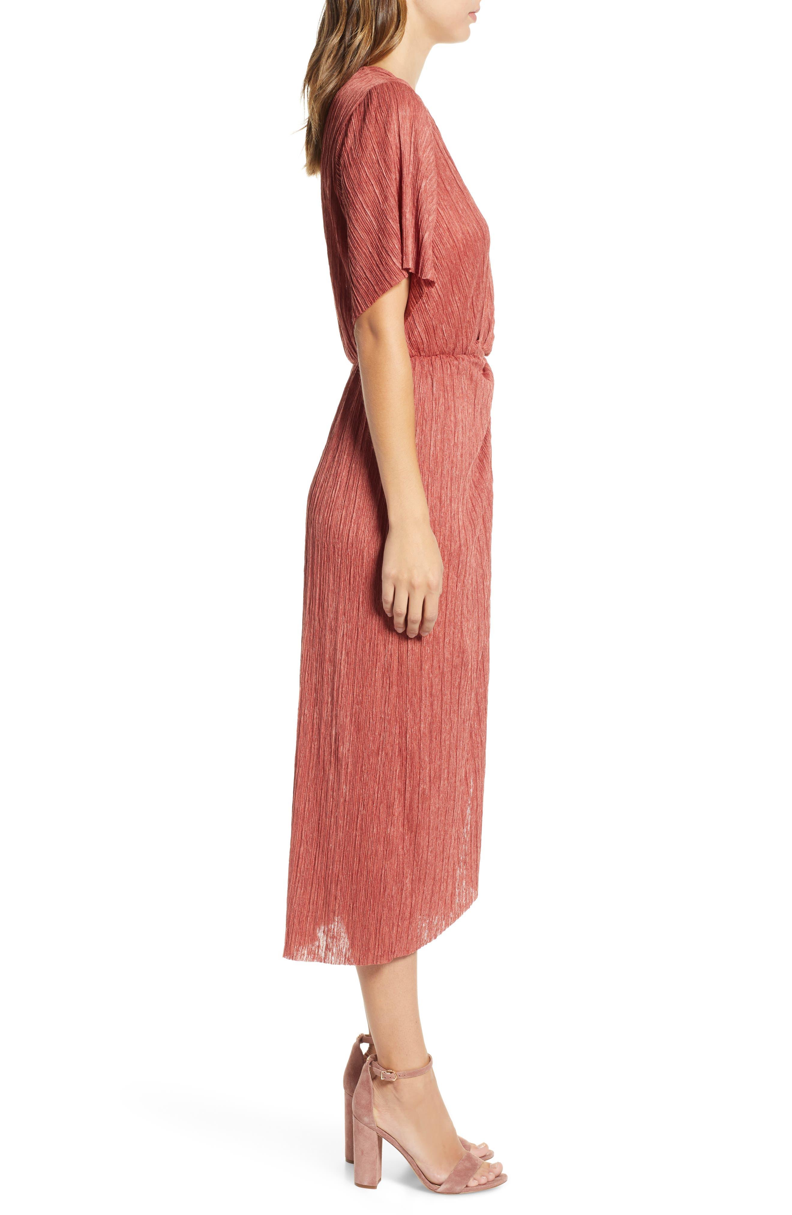 Dolman Plissé Midi Dress,                             Alternate thumbnail 3, color,                             RUST LEAF
