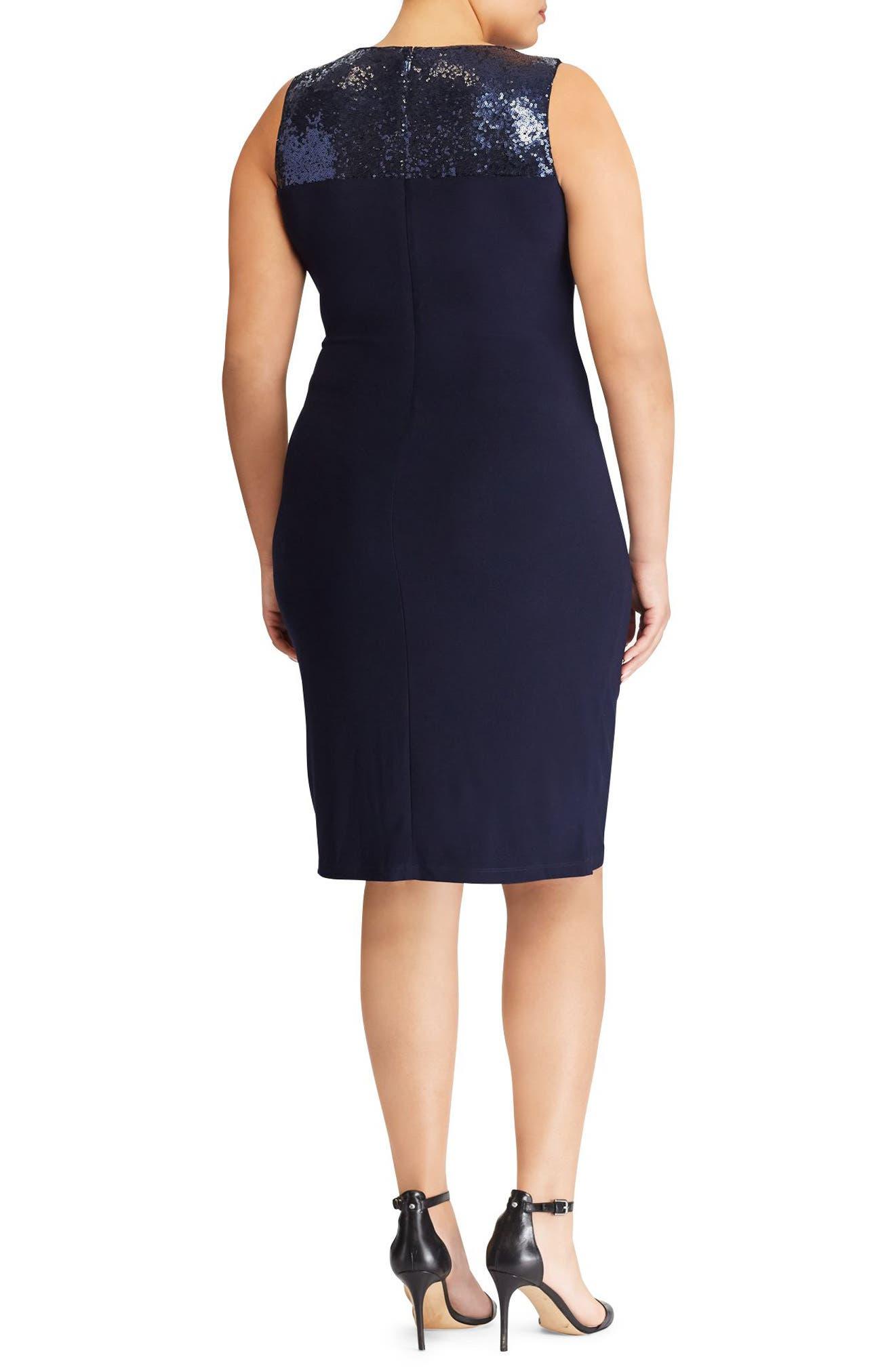 Sequin Yoke Sheath Dress,                             Alternate thumbnail 2, color,                             410