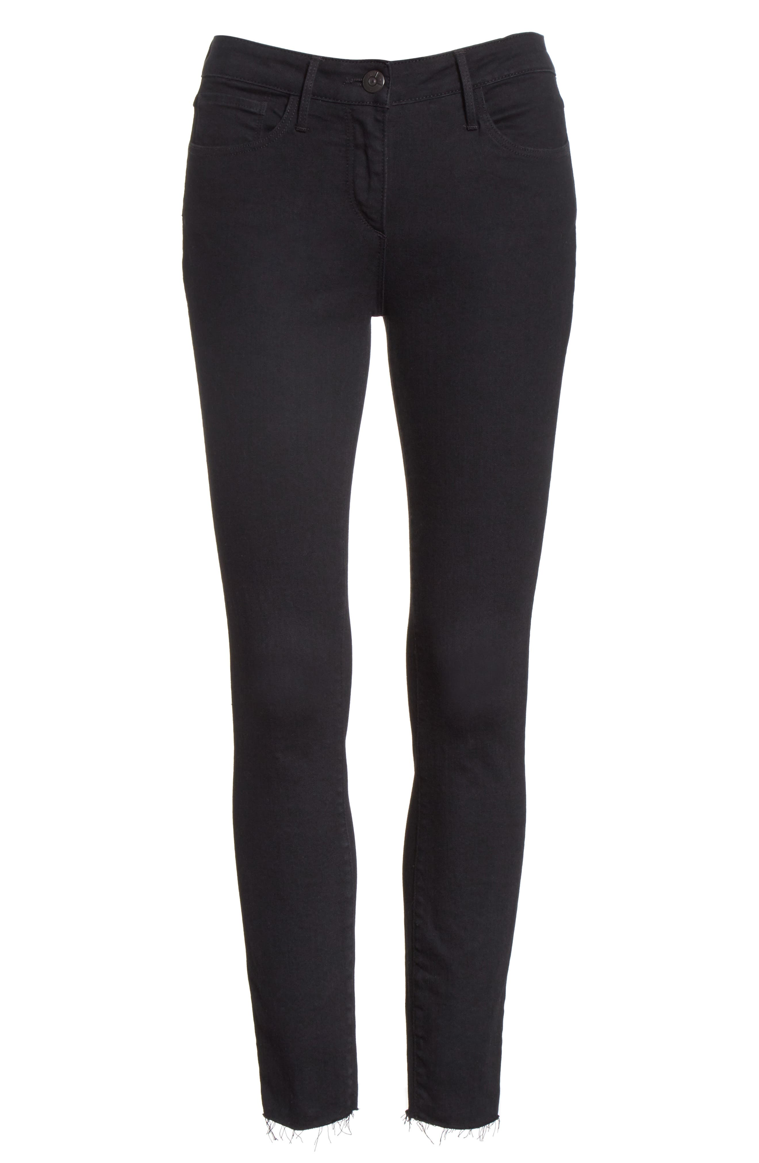 W2 Crop Skinny Jeans,                             Alternate thumbnail 6, color,                             BLACK TEAR