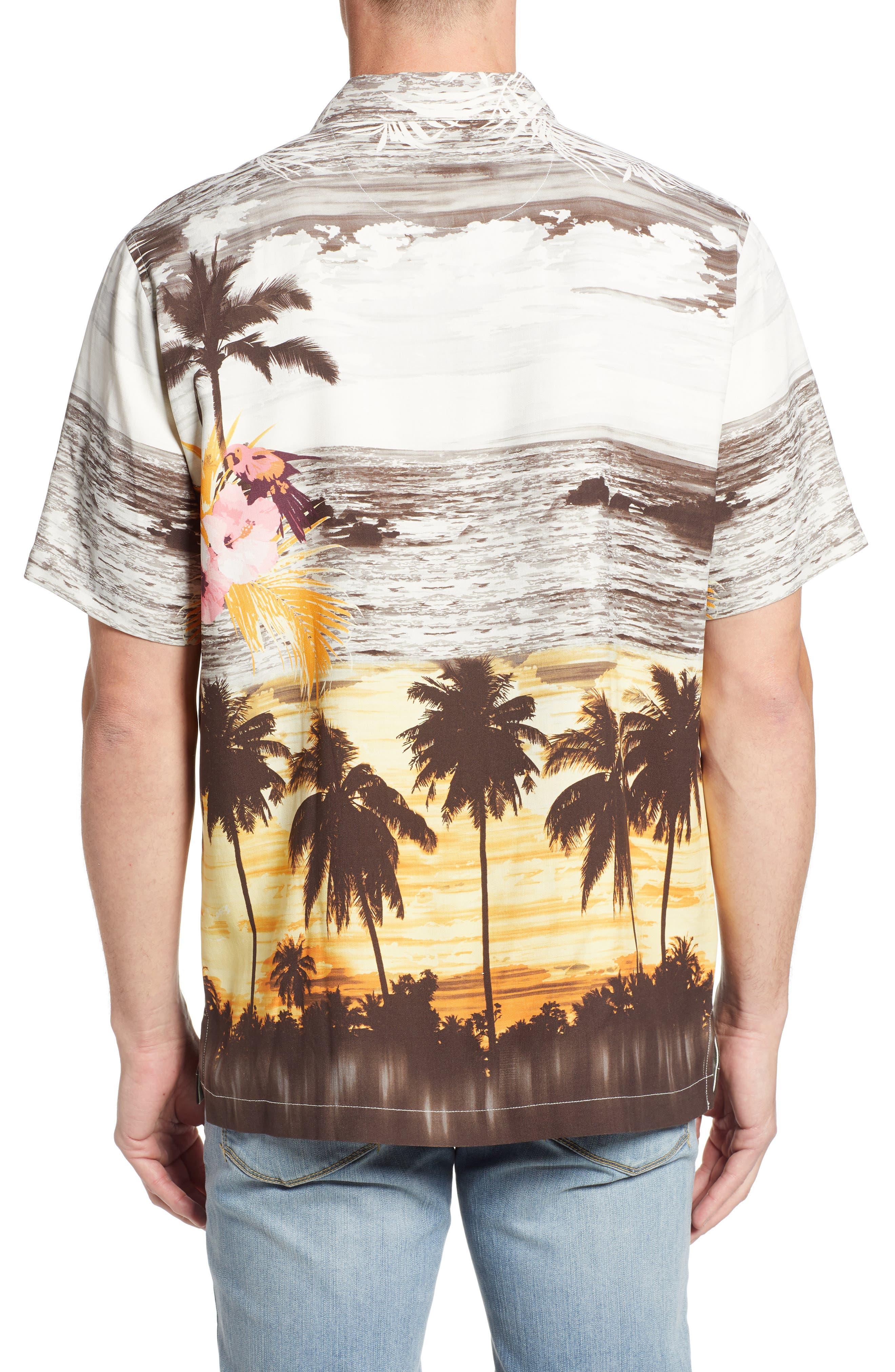 Sunset Serenade Silk Sport Shirt,                             Alternate thumbnail 2, color,                             SUNSET ORANGE