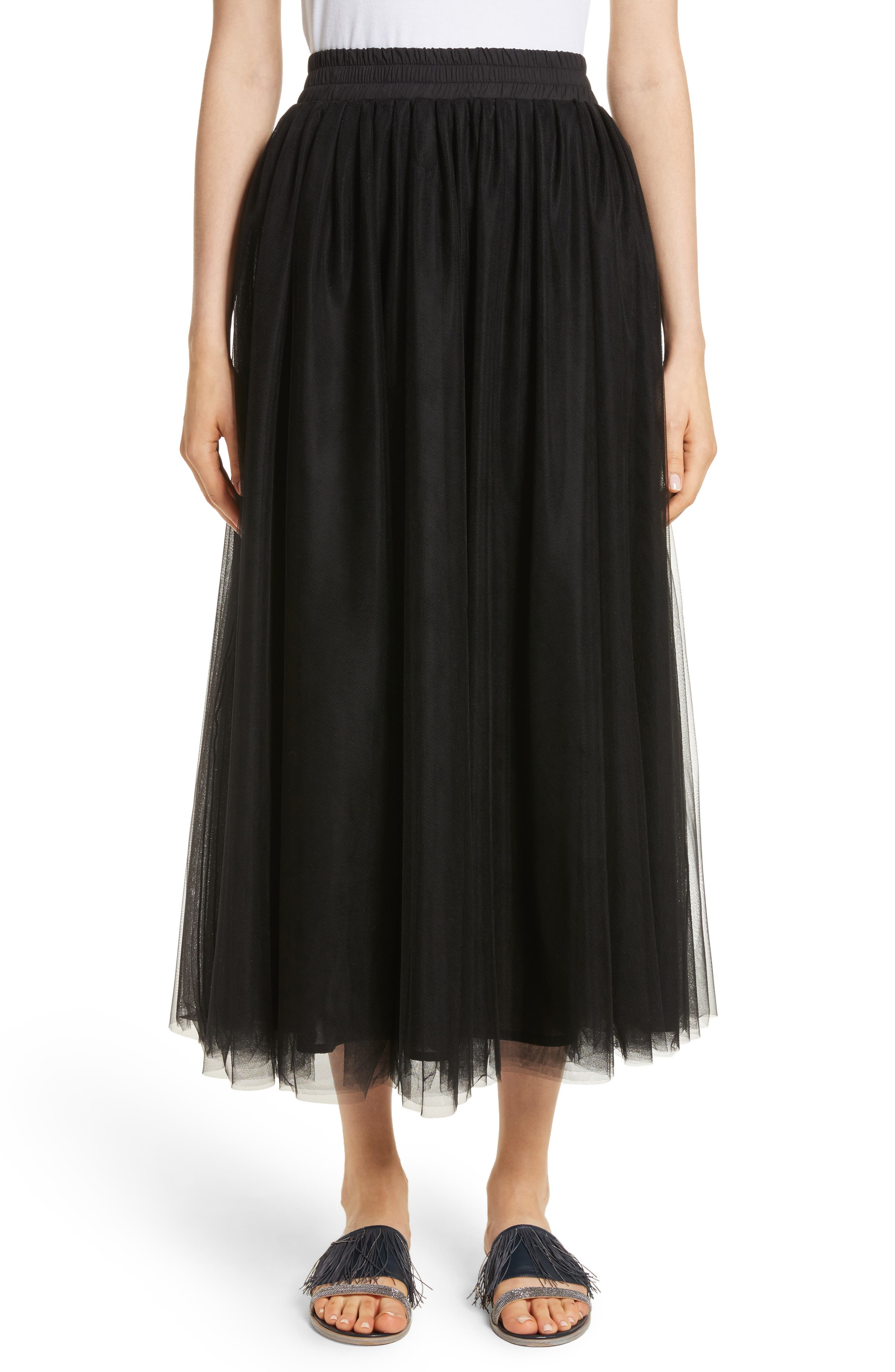 Tulle Midi Skirt,                             Main thumbnail 1, color,                             001