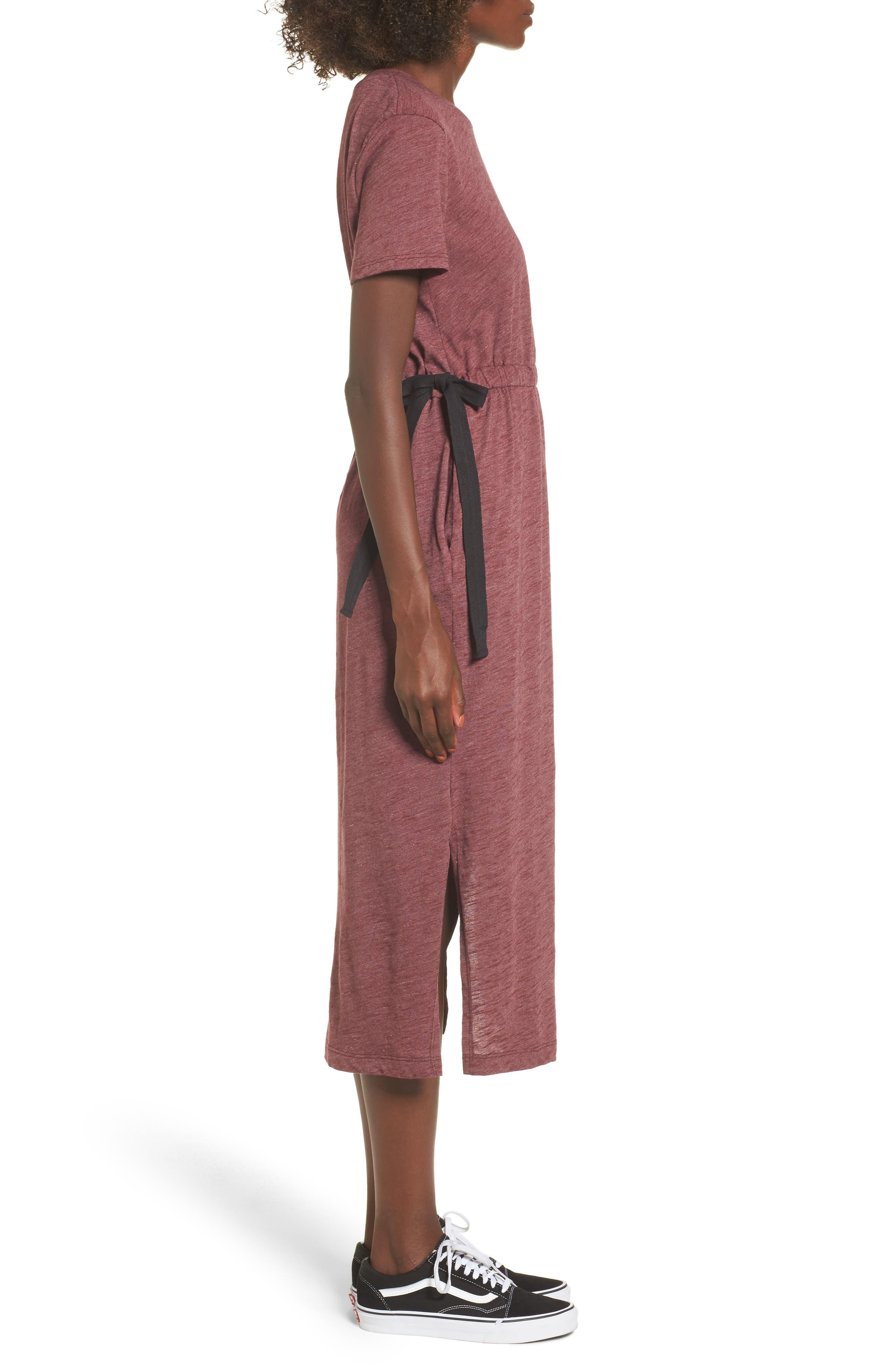Side Tie Midi T-Shirt Dress,                             Alternate thumbnail 9, color,