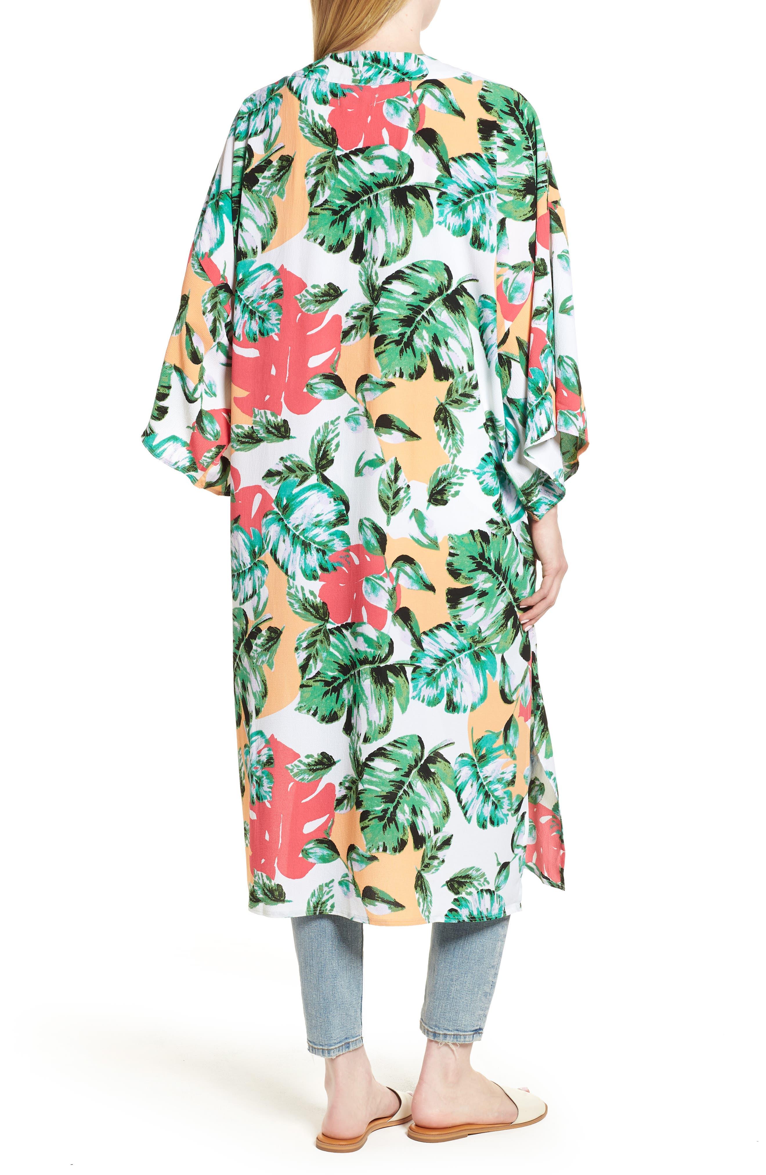 Vacation Print Kimono,                             Alternate thumbnail 2, color,                             CORAL PALMS PLEASE