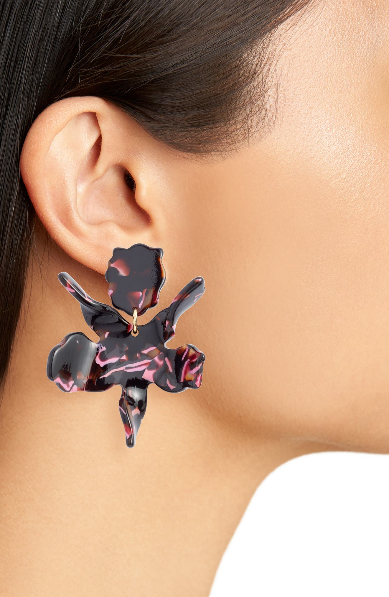 Small Paper Lily Drop Earrings,                             Alternate thumbnail 2, color,                             BLACK CHERRY