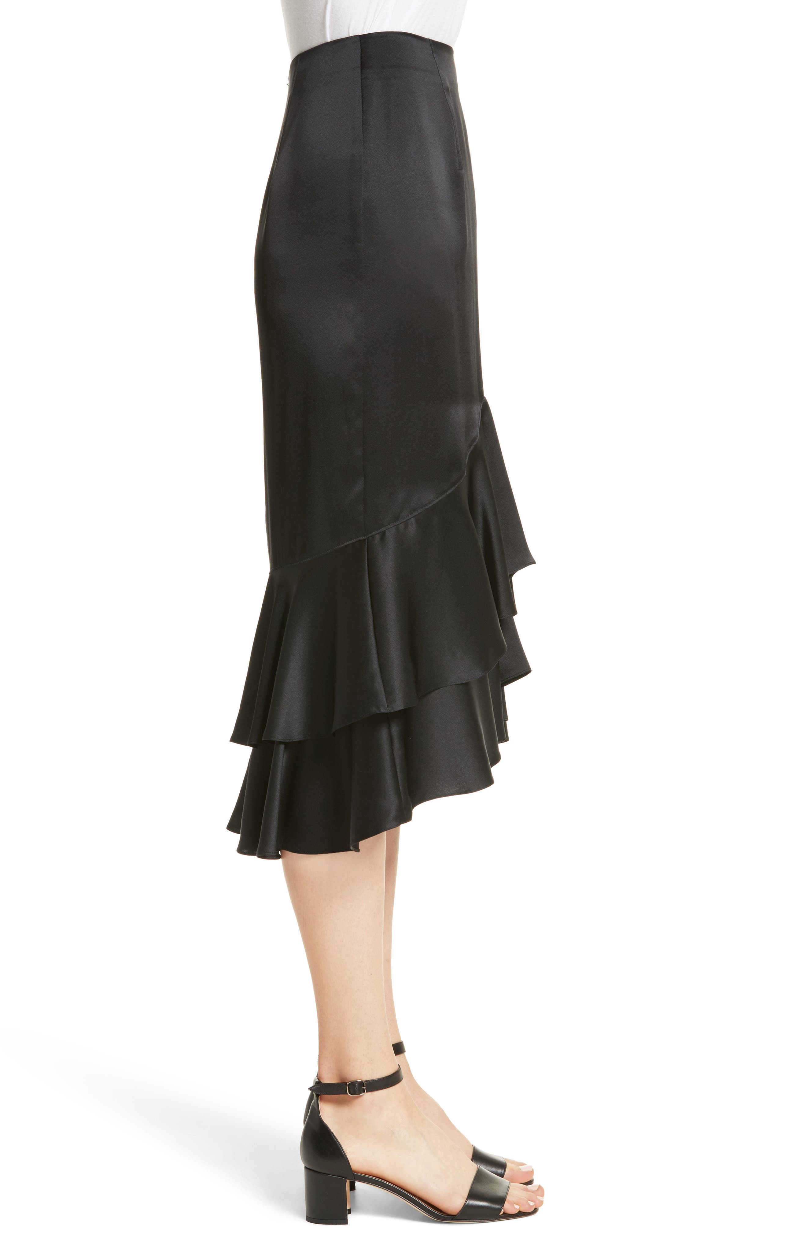 Anissa Silk Satin Ruffle Skirt,                             Alternate thumbnail 3, color,                             001