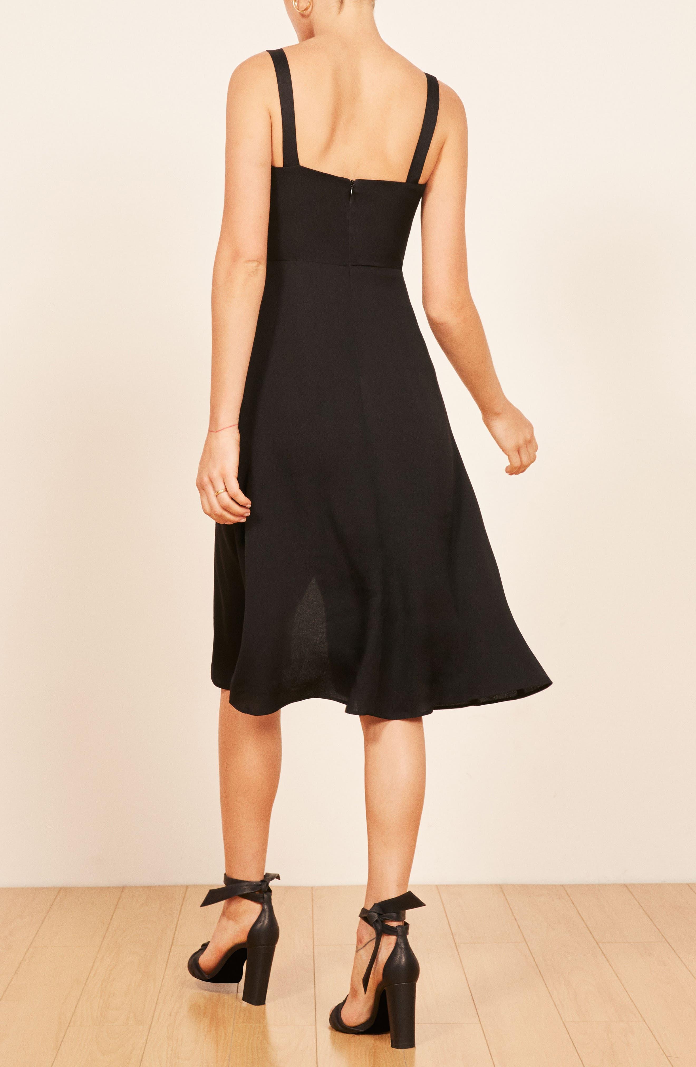 Persimmon Floral Midi A-Line Dress,                             Alternate thumbnail 3, color,                             BLACK