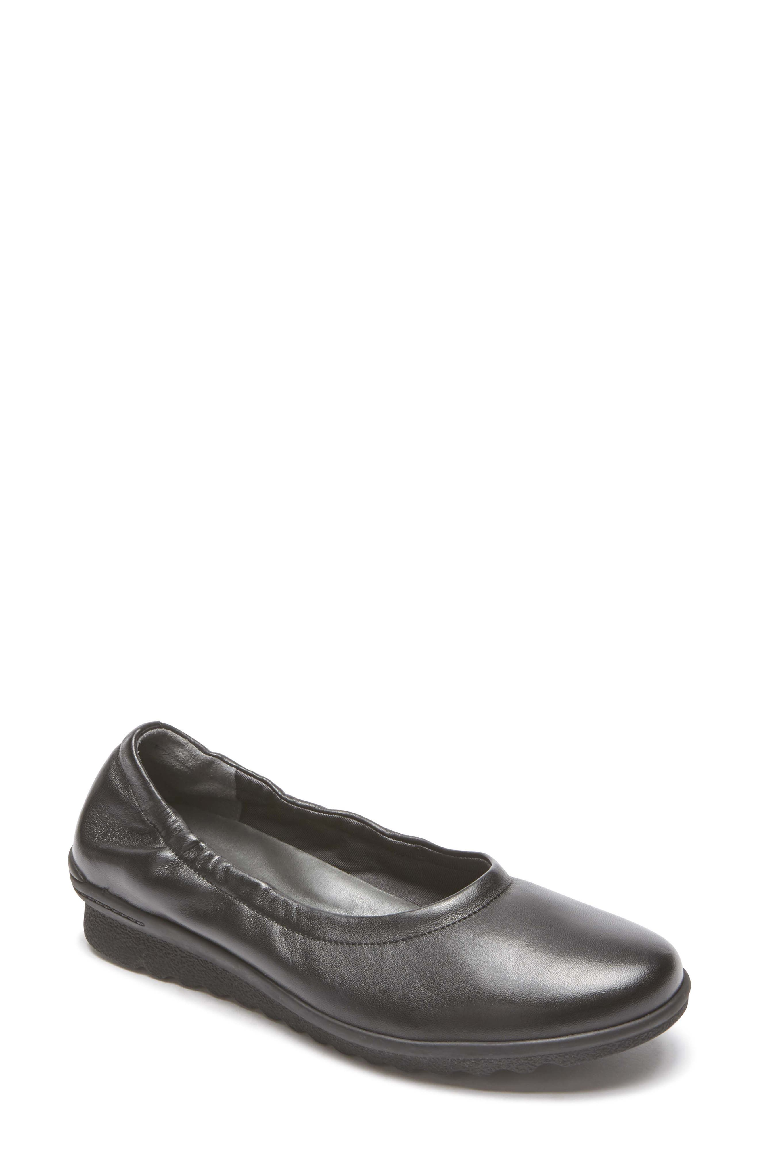 Chenole Ballet Flat,                             Main thumbnail 1, color,                             BLACK LEATHER
