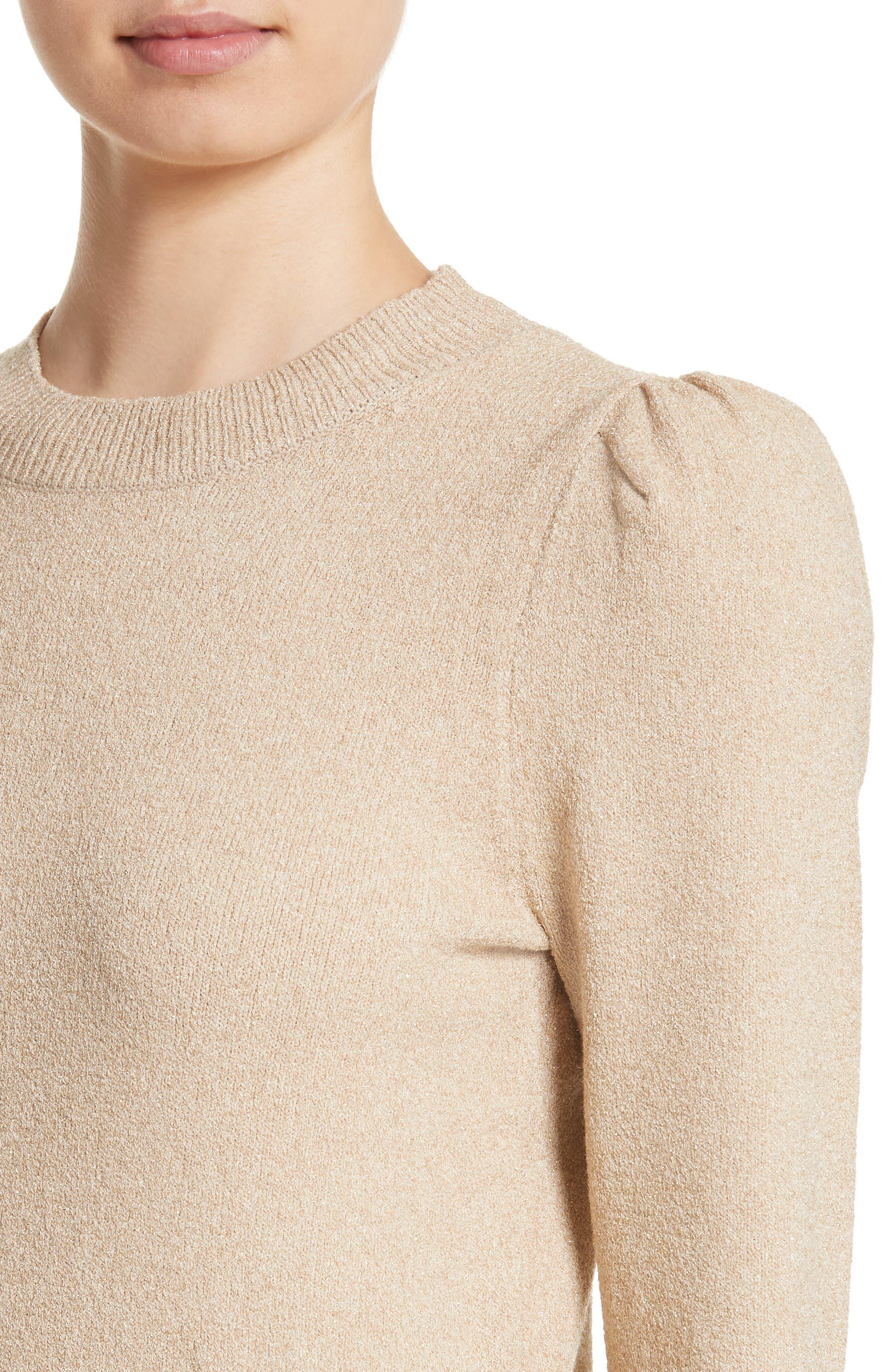 Metallic Knit Puff Sleeve Sweater,                             Alternate thumbnail 4, color,                             200