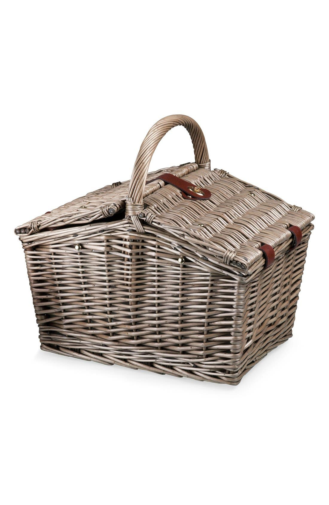 'Piccadilly' Wicker Picnic Basket,                             Alternate thumbnail 3, color,                             ANTHOLOGY