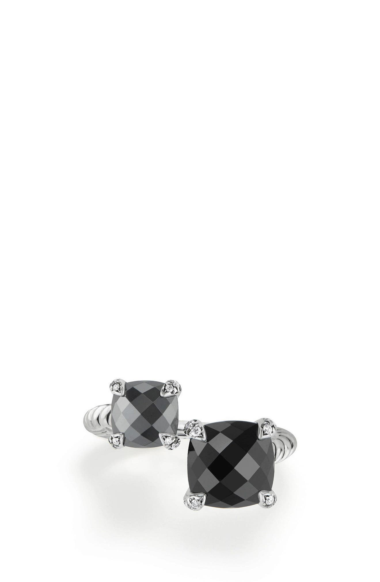 Châtelaine Bypass Ring with Diamonds,                             Alternate thumbnail 3, color,                             BLACK ONYX