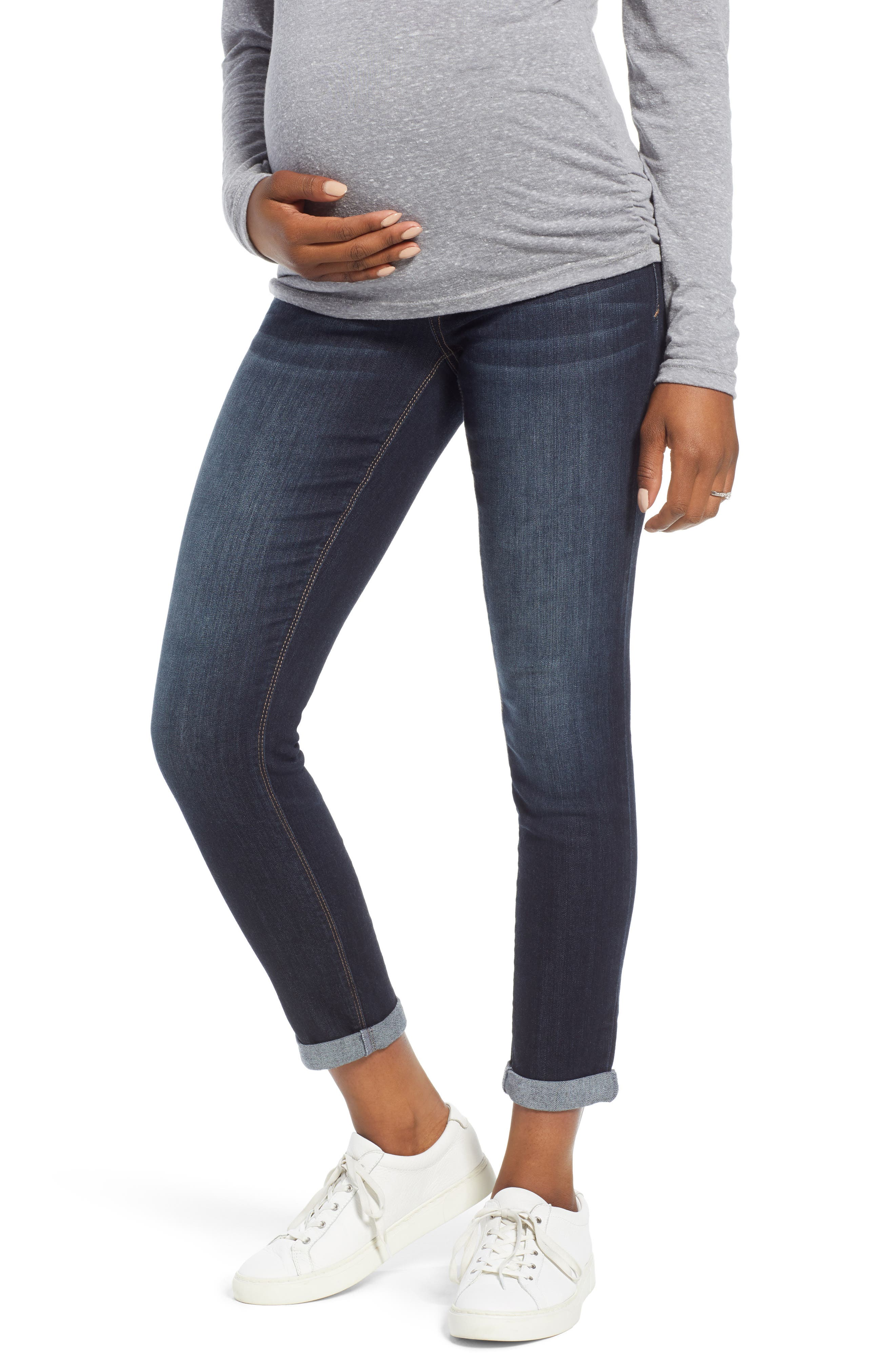 Roll Cuff Maternity Skinny Jeans, Main, color, ERICA