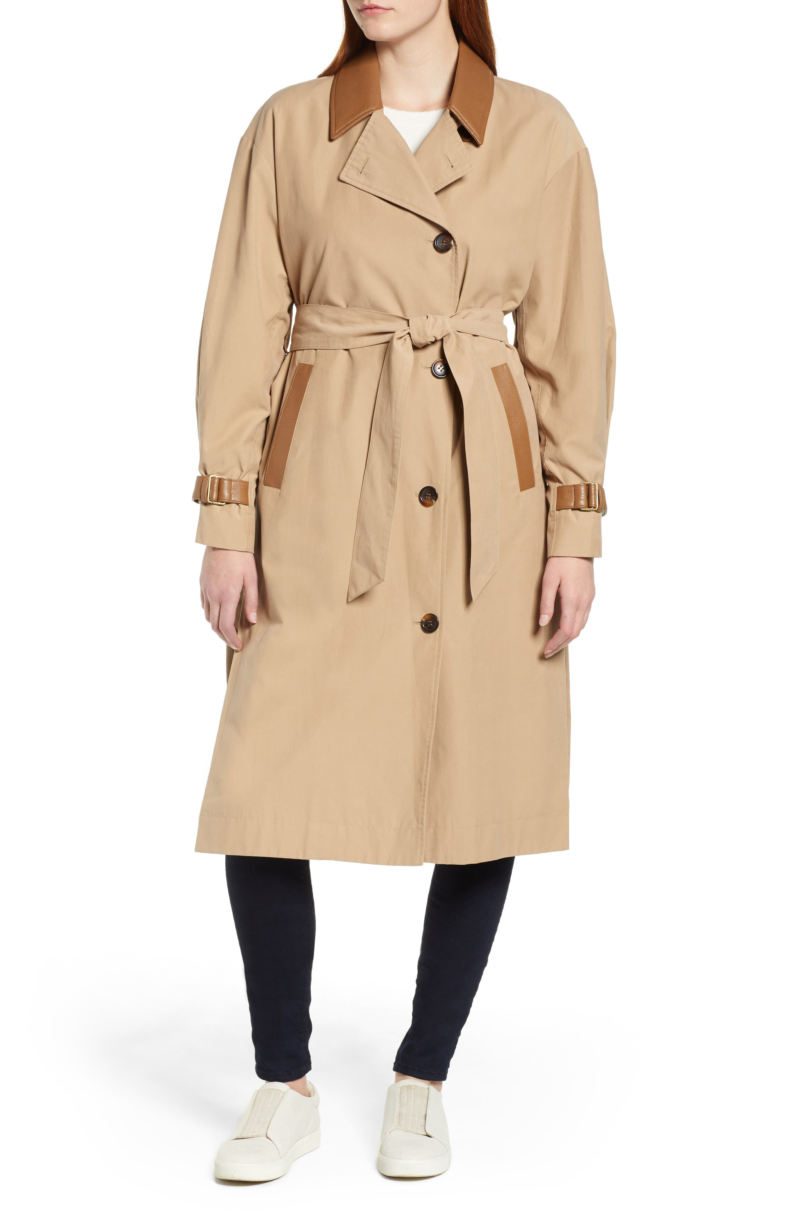 Grace Oversize Twill Trench Coat,                             Alternate thumbnail 4, color,                             SAND