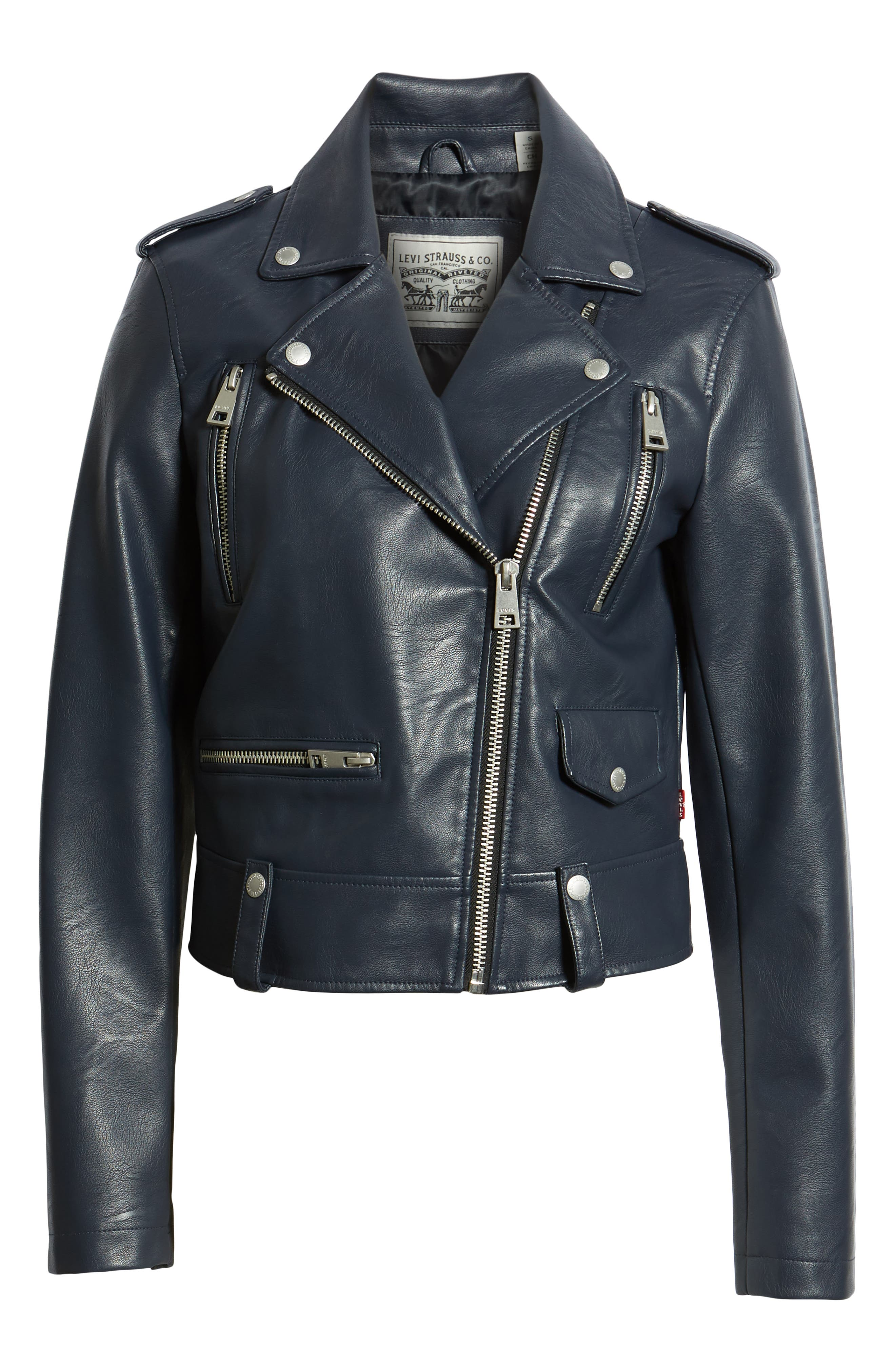 Faux Leather Moto Jacket,                             Alternate thumbnail 6, color,                             NAVY