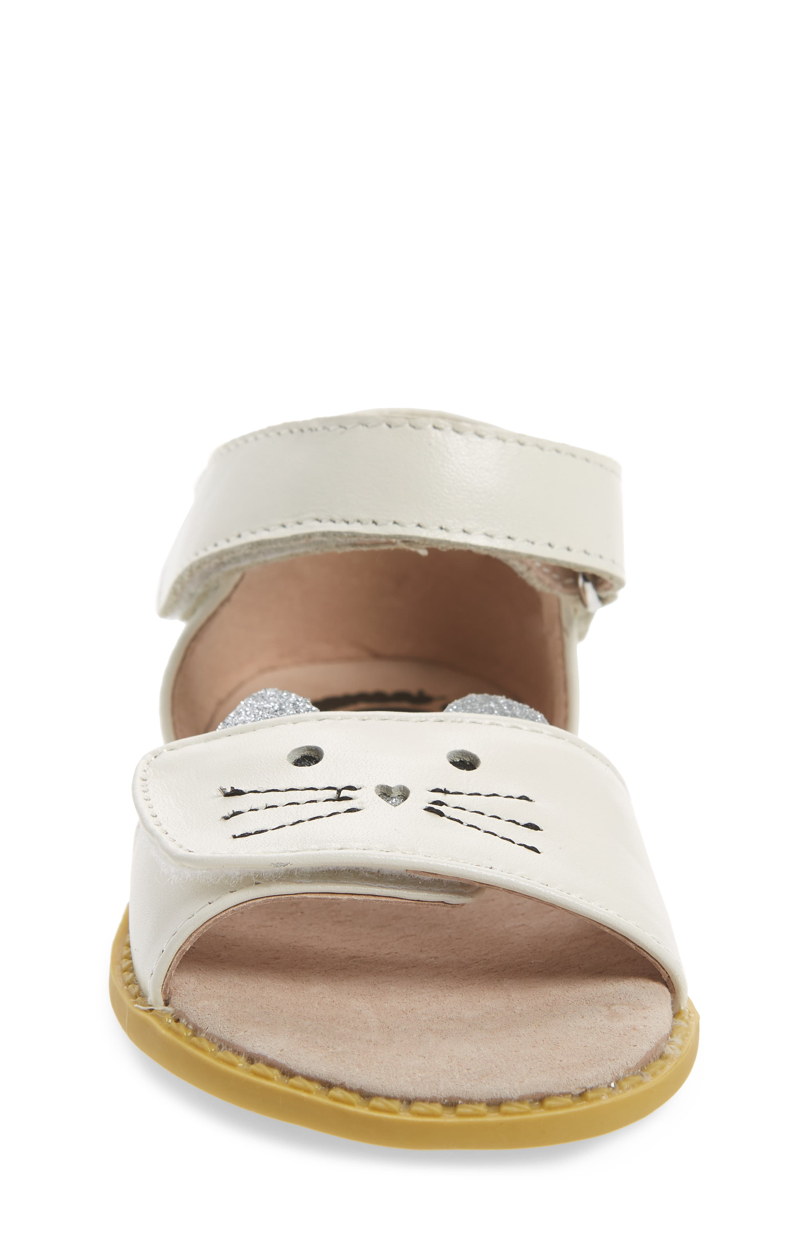 Tabby Kitty Face Sandal,                             Alternate thumbnail 4, color,                             MILK