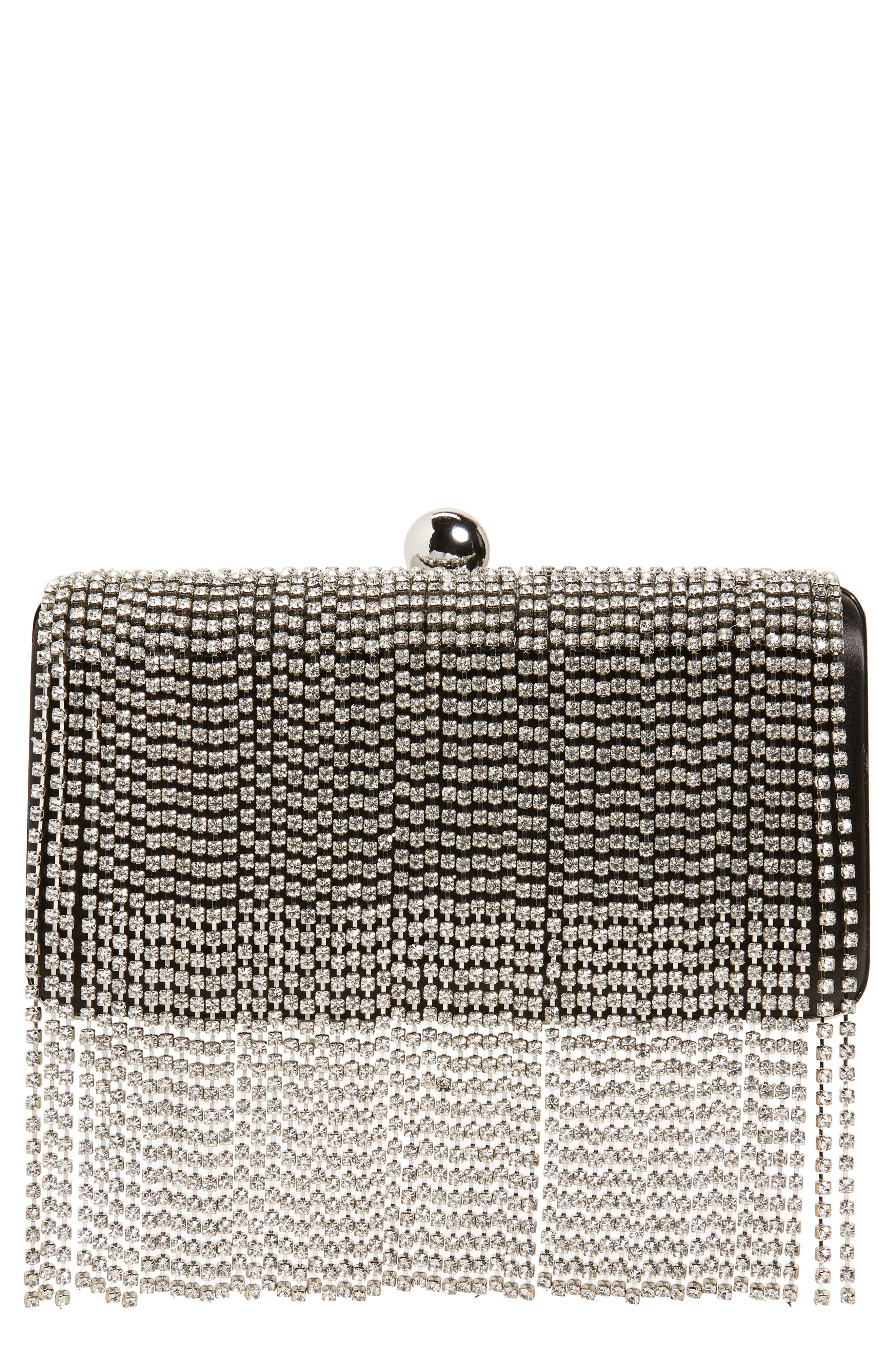 Crystal Fringe Box Clutch, Main, color, SILVER