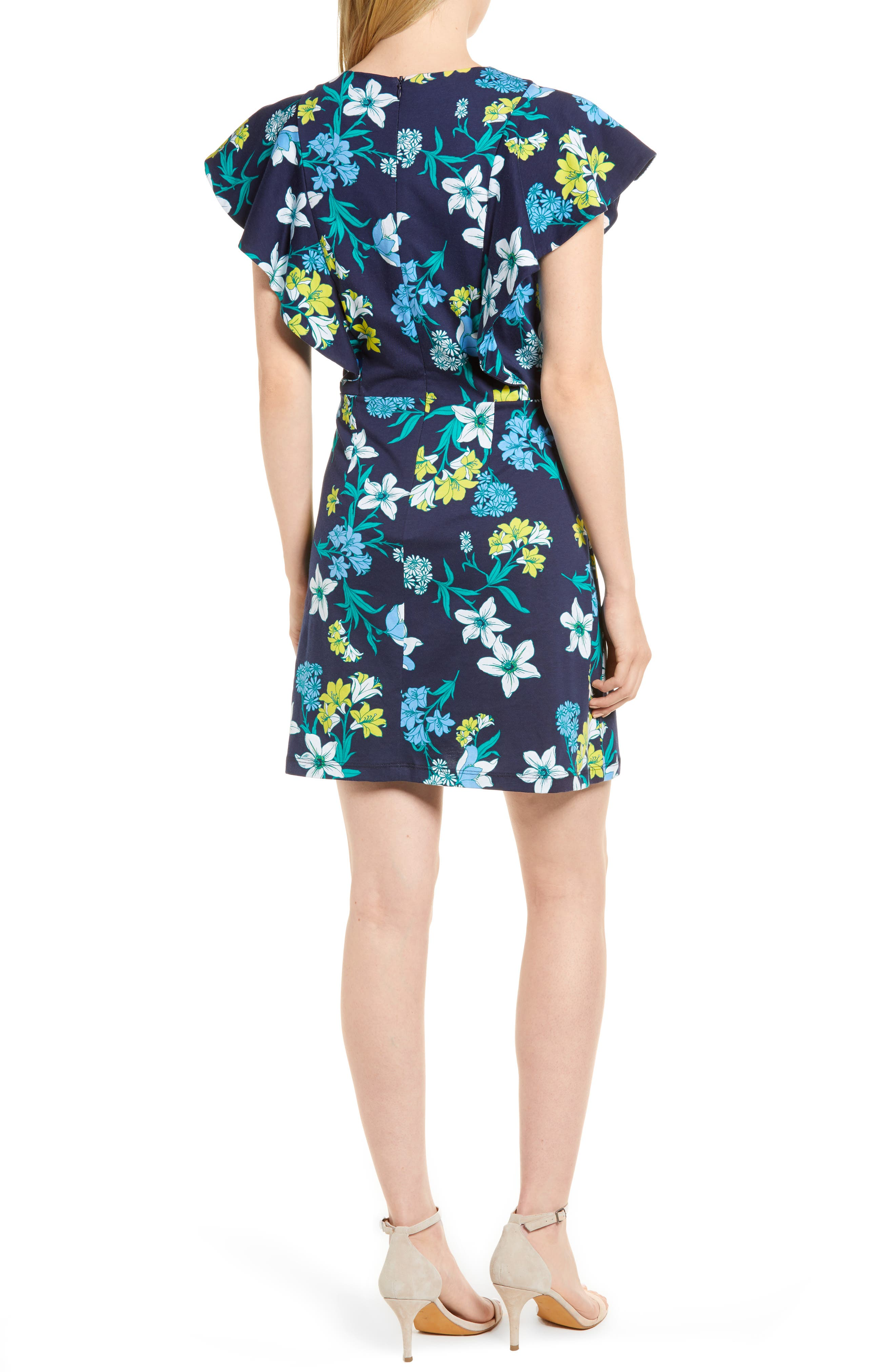 Floral Ruffle Cotton Dress,                             Alternate thumbnail 2, color,