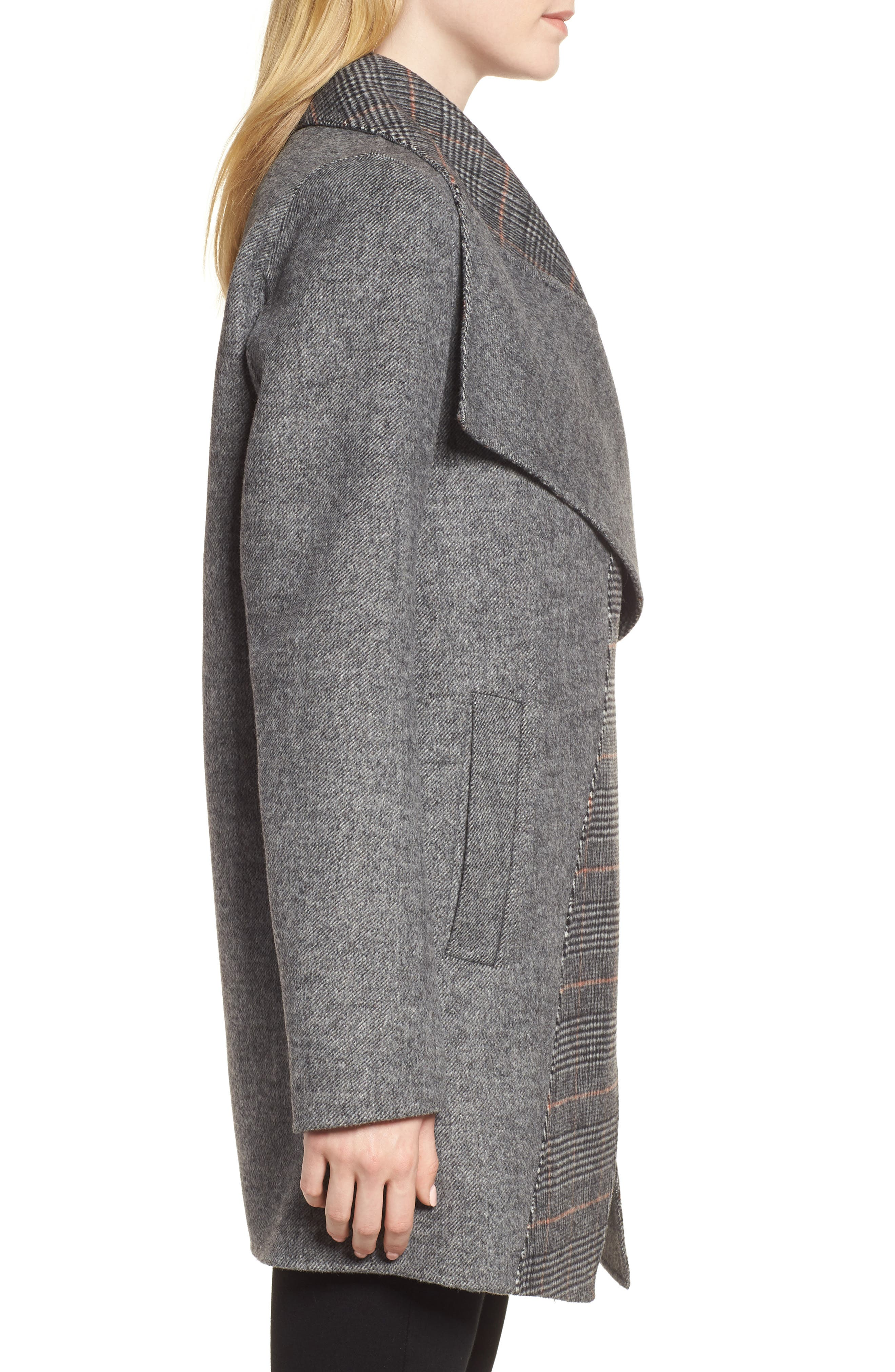 Nicky Double Face Wool Blend Oversize Coat,                             Alternate thumbnail 3, color,                             GREY COMBO TWILL/ PLAID