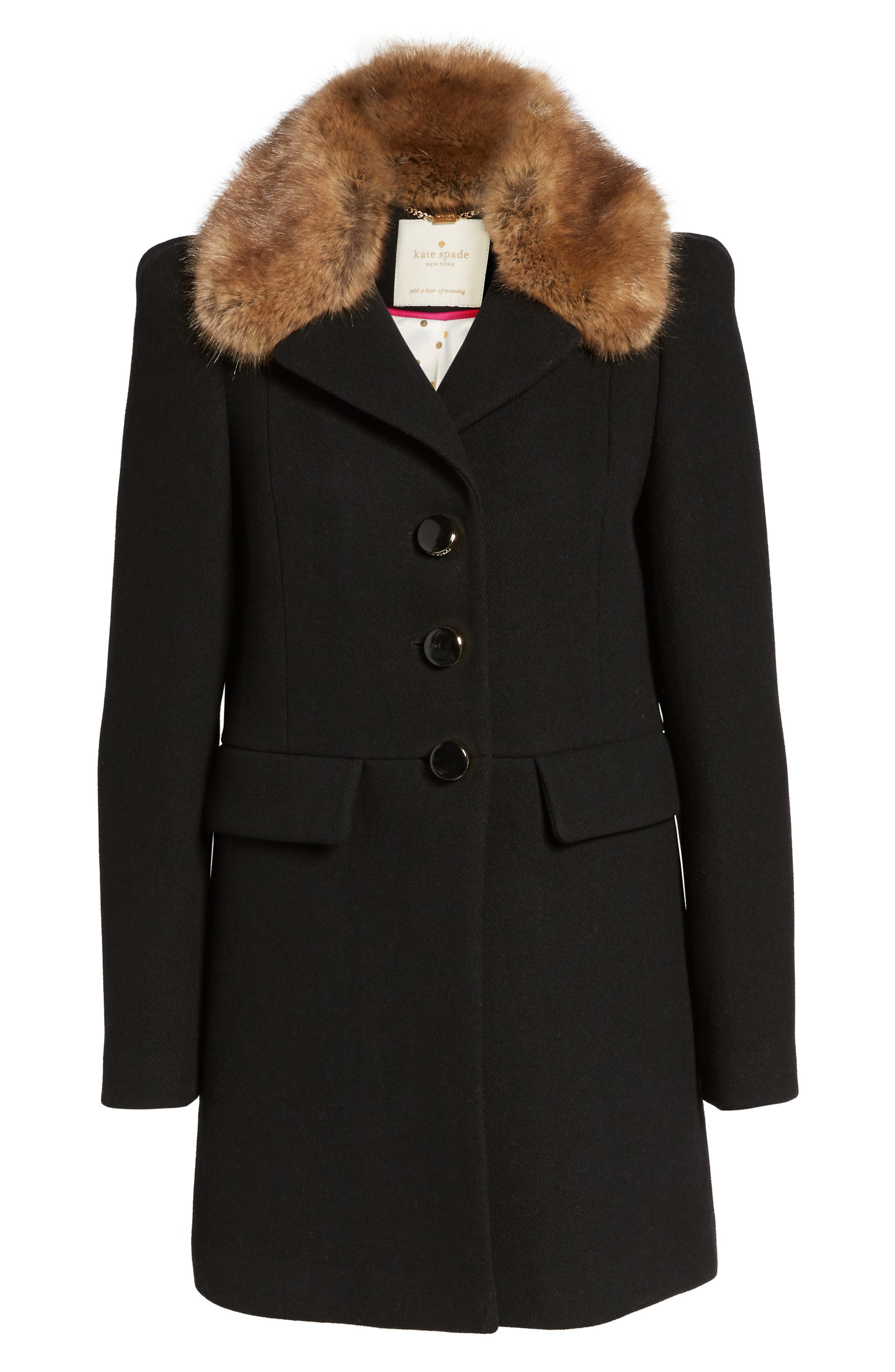 peacoat with faux fur trim,                             Alternate thumbnail 5, color,                             001
