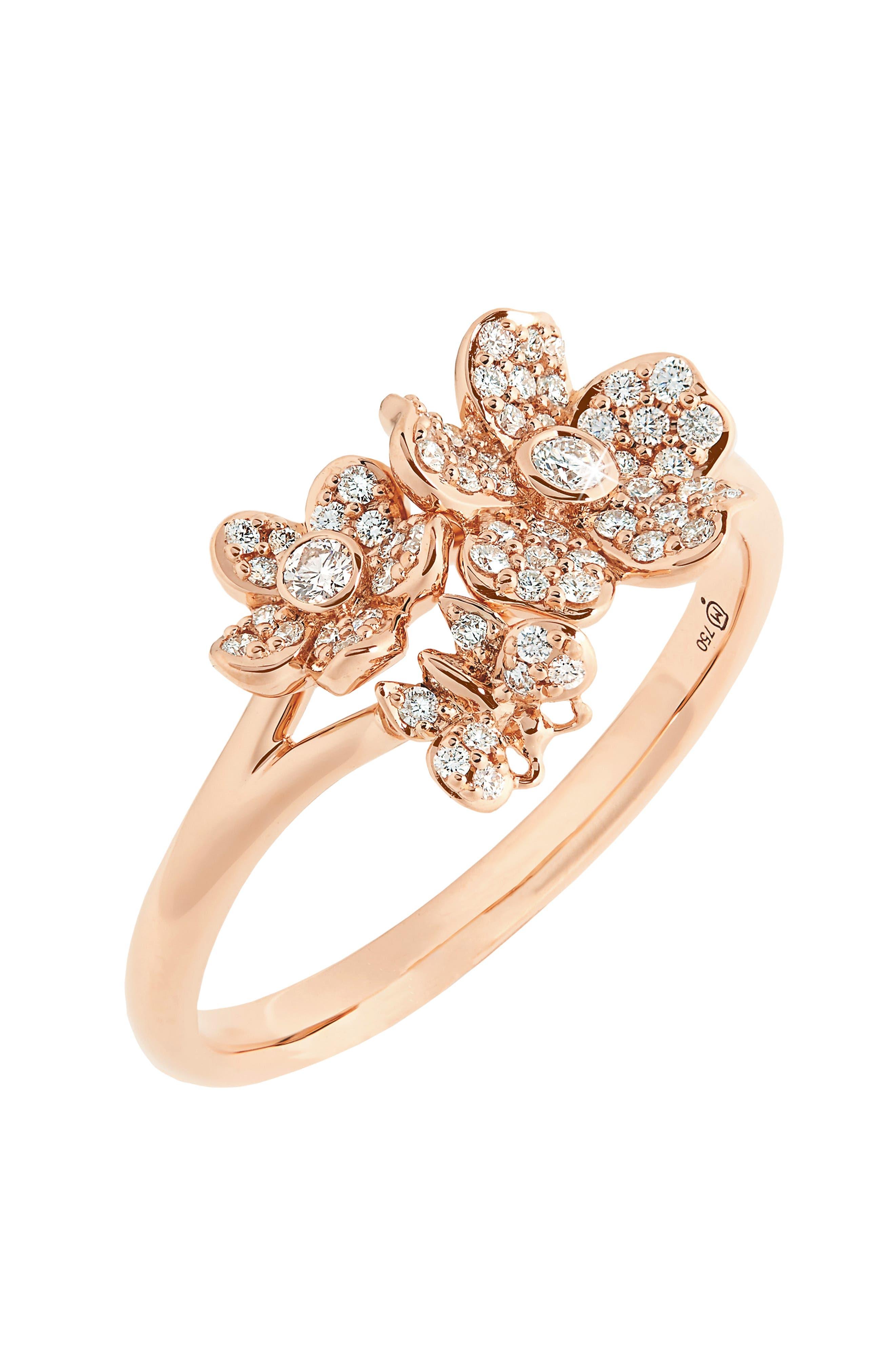Diamond Flower Ring,                             Alternate thumbnail 3, color,                             712