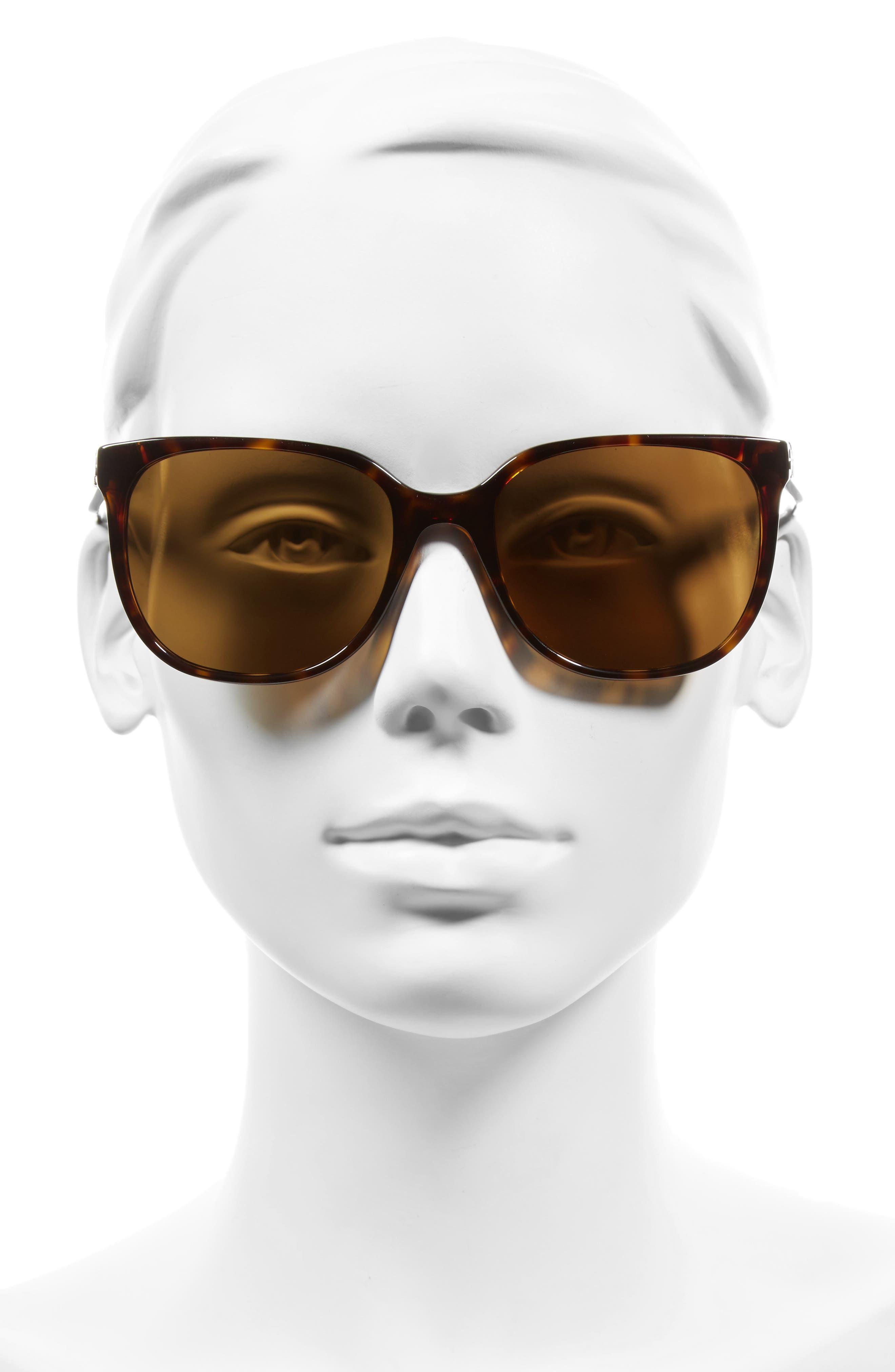 57mm Polarized Sunglasses,                             Alternate thumbnail 2, color,                             DARK TORTOISE