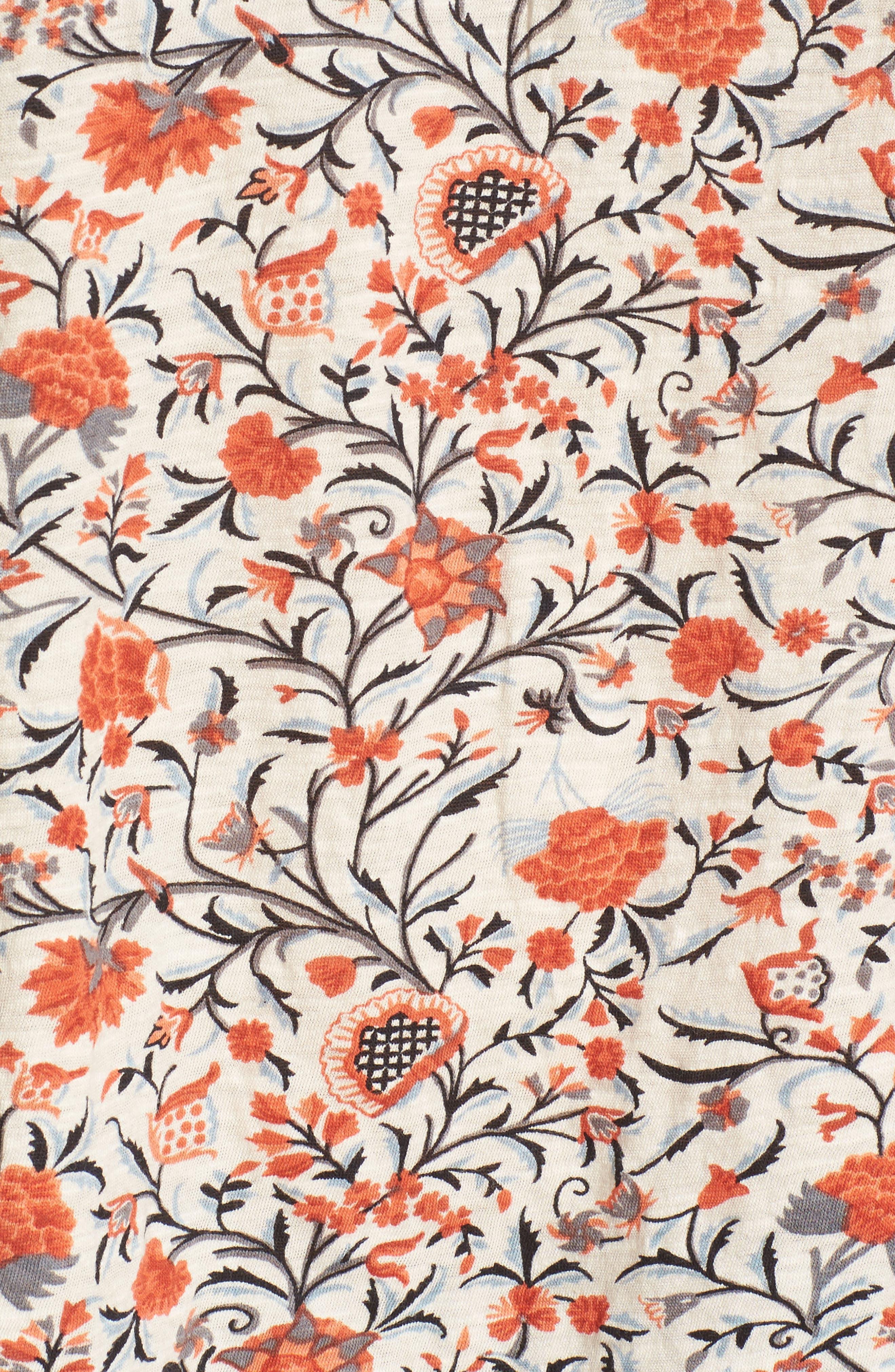 Smocked Floral Print Blouse,                             Alternate thumbnail 5, color,                             900