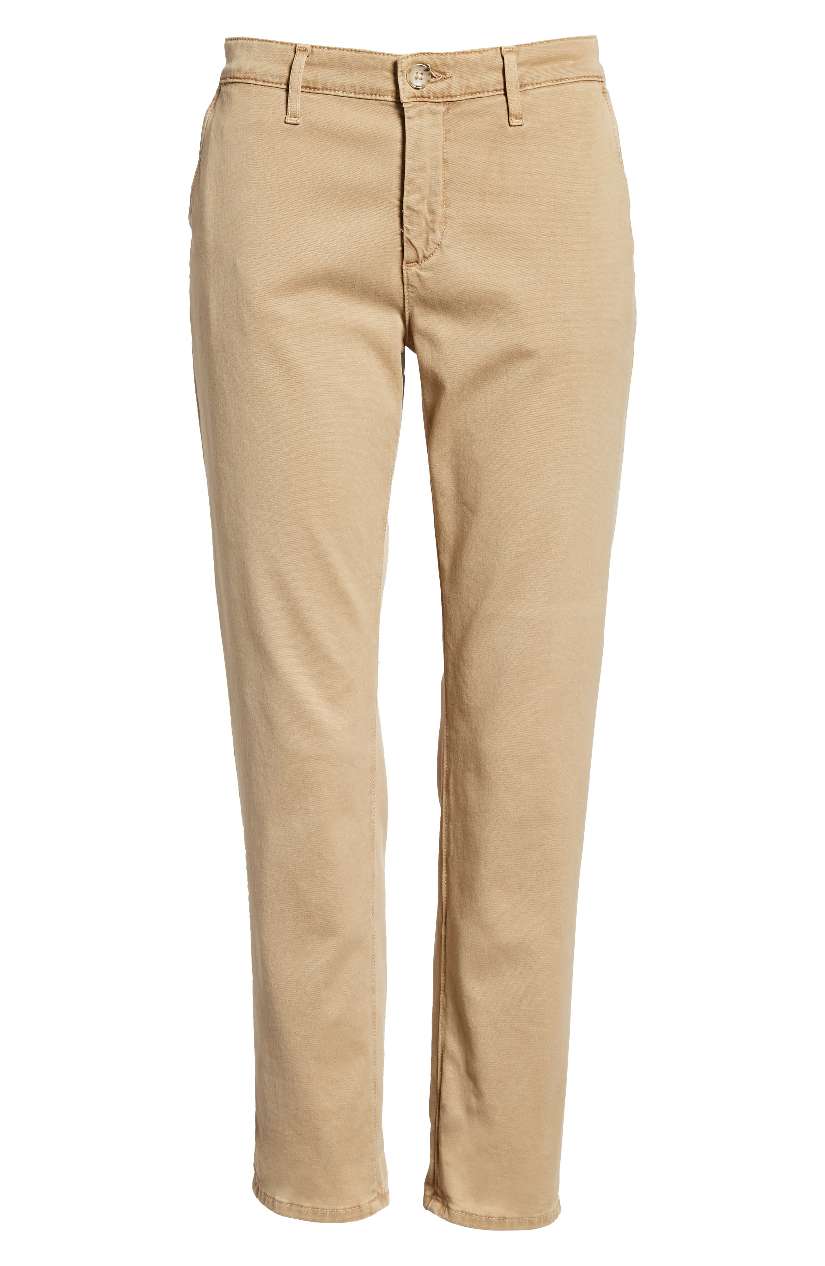 Caden Crop Twill Trousers,                             Alternate thumbnail 7, color,                             SULFUR TOASTED