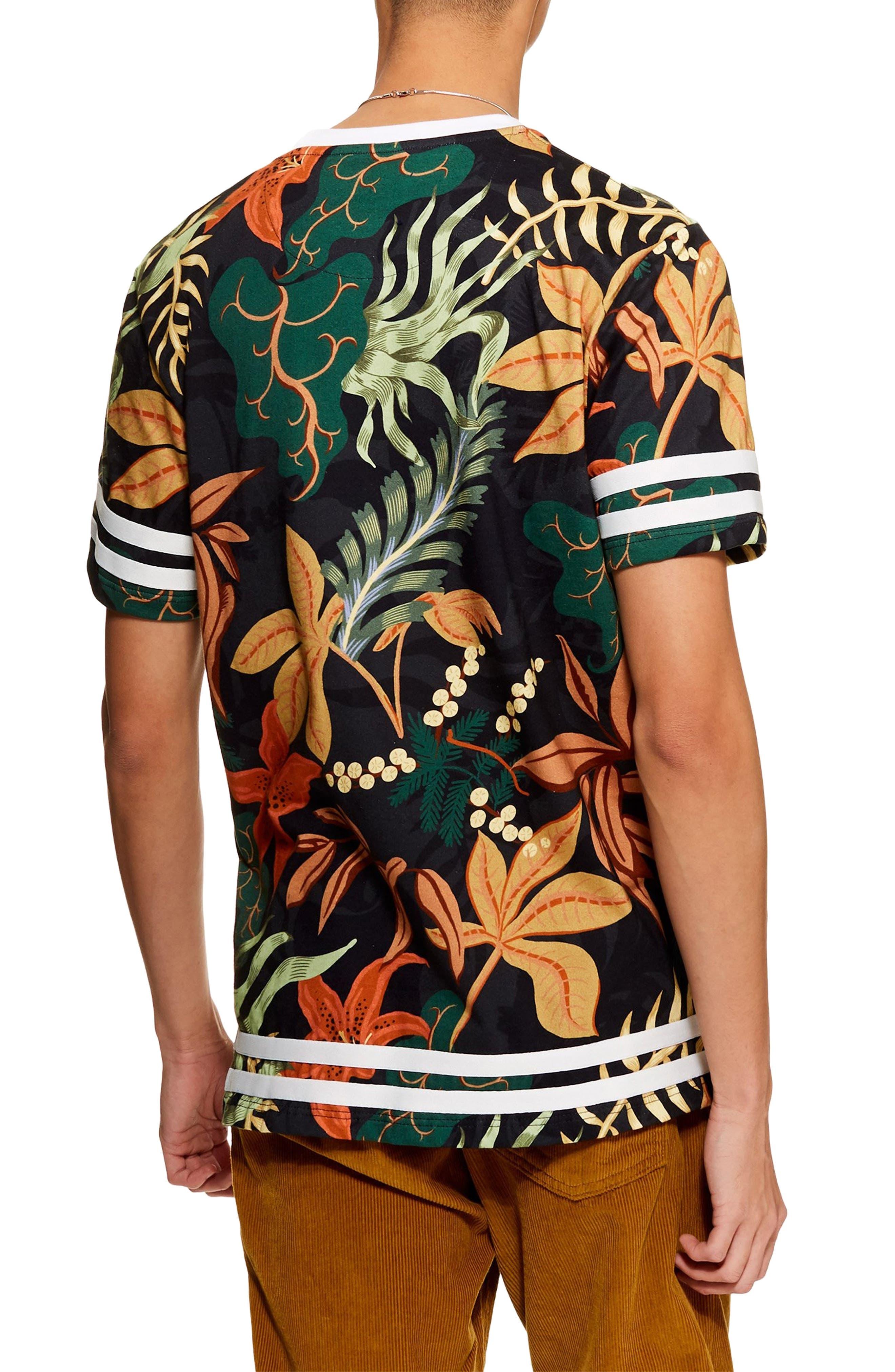 Tape Floral Print T-Shirt,                             Alternate thumbnail 2, color,                             BLACK MULTI