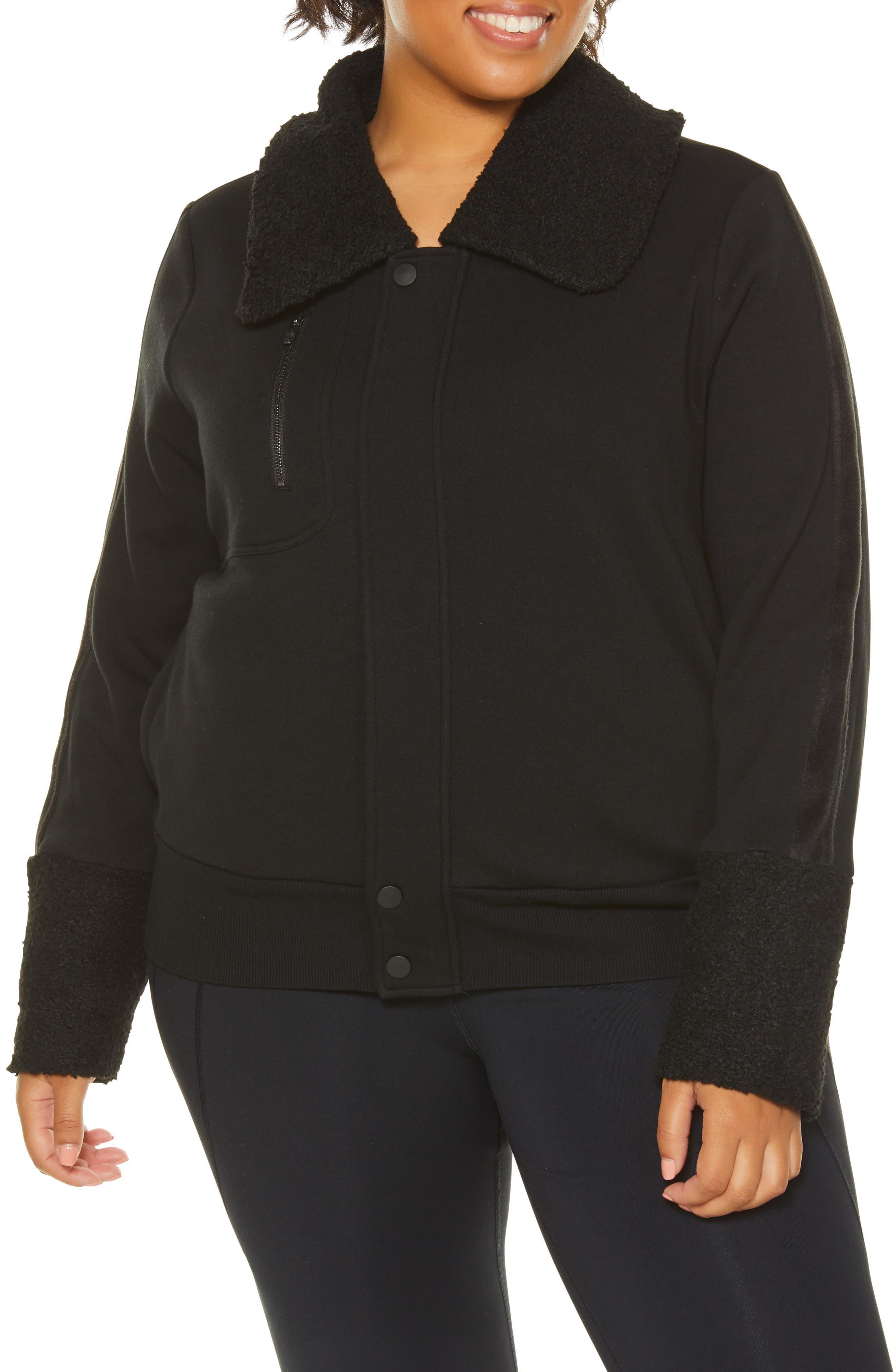 Plus Size Shape Activewear Stealth Moto Jacket, Black