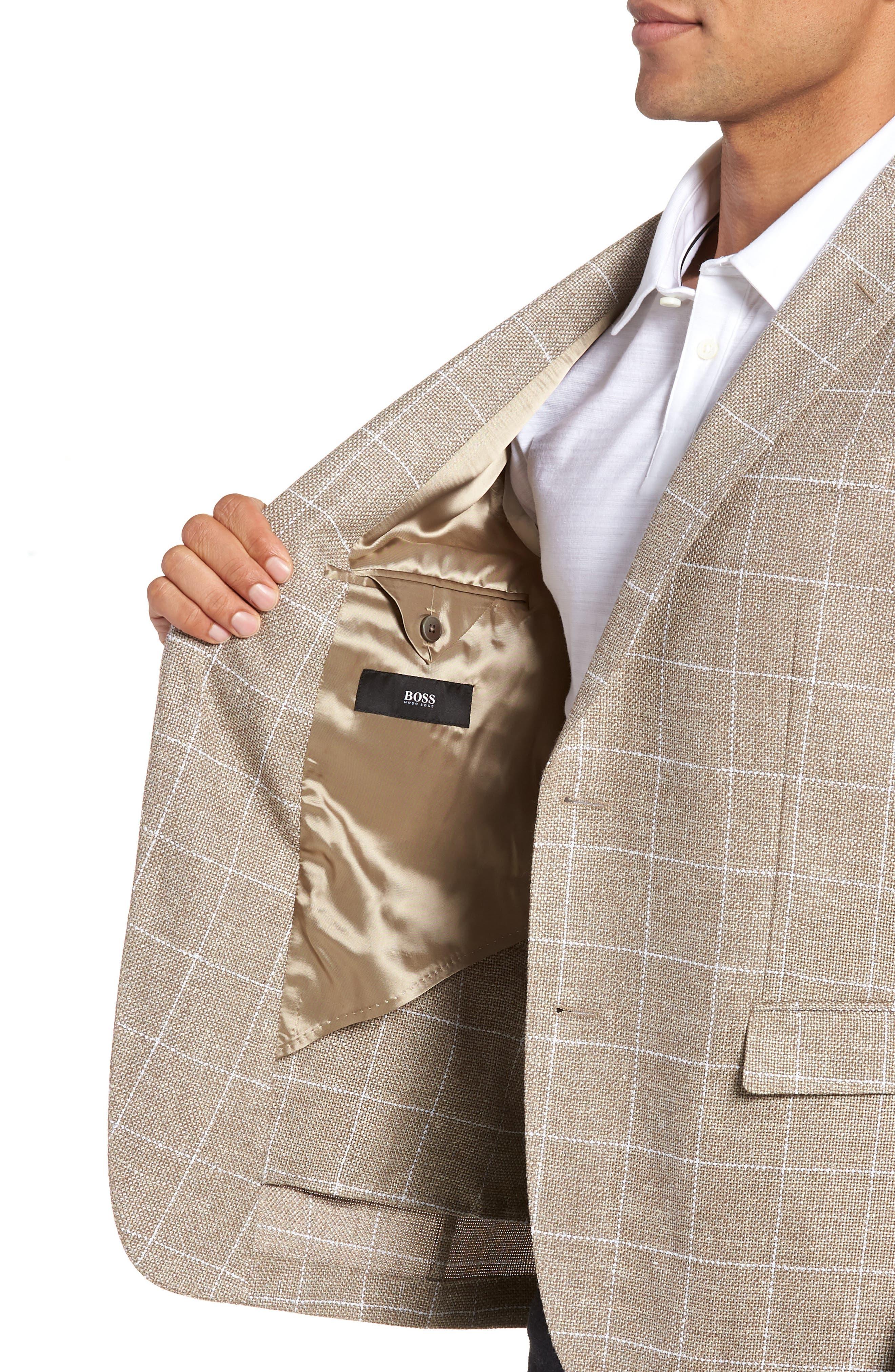 Nobis Trim Fit Windowpane Wool & Linen Sport Coat,                             Alternate thumbnail 4, color,                             250