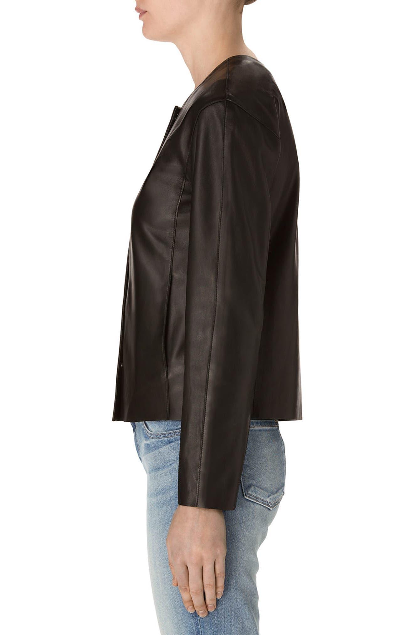 Cecelia Collarless Leather Jacket,                             Alternate thumbnail 3, color,                             001
