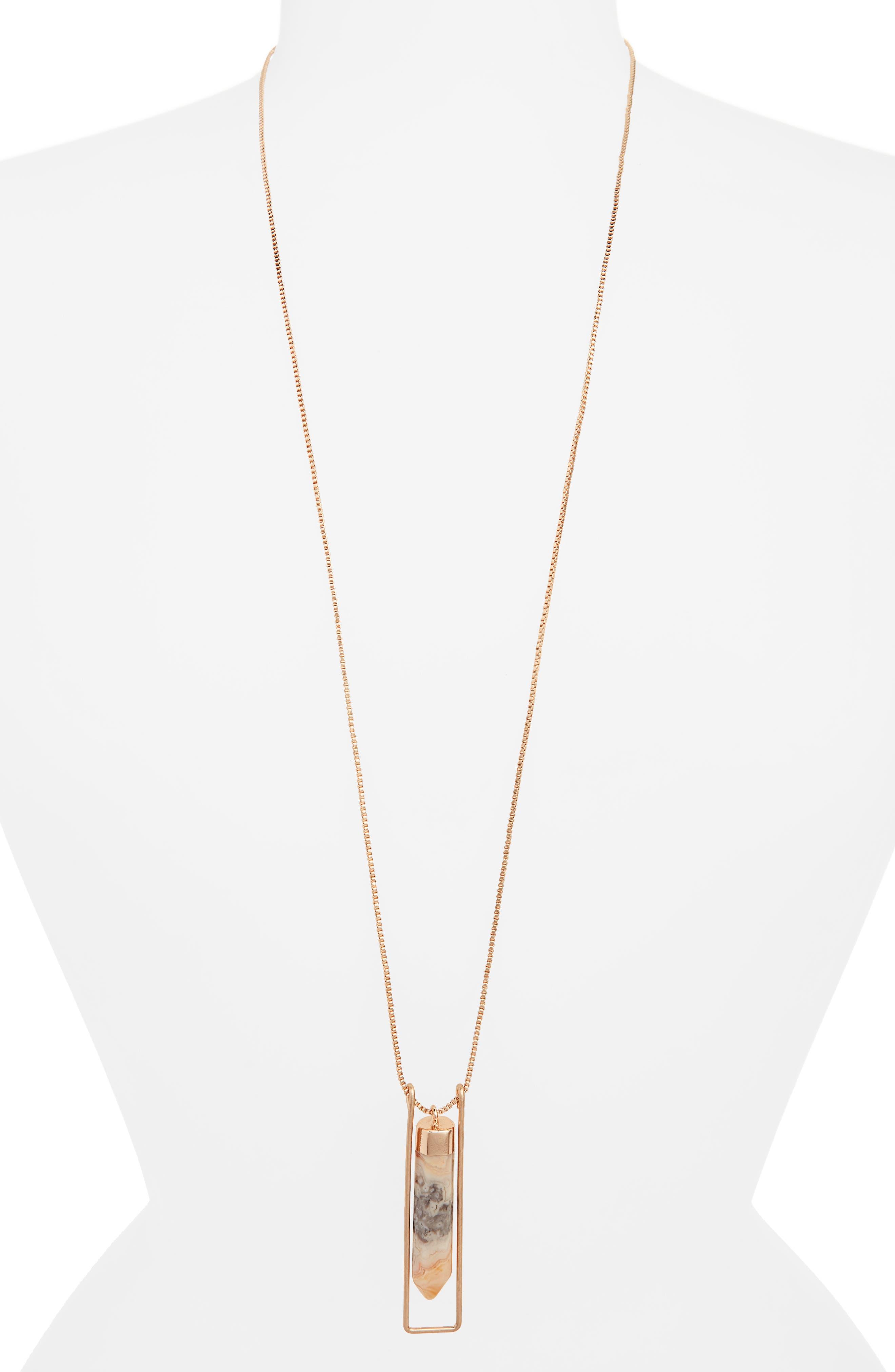 Caged Quartz Pendant Necklace,                         Main,                         color, NATURAL- GOLD