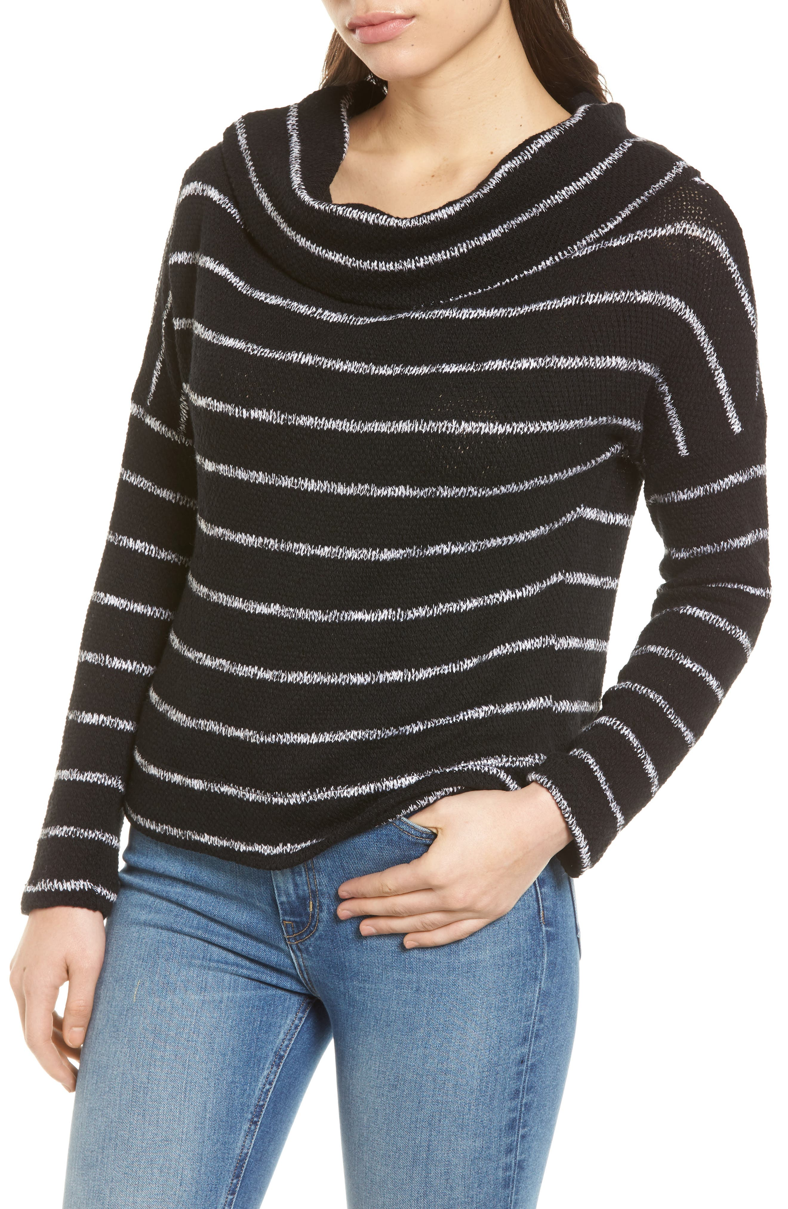 Convertible Neck Knit Pullover,                             Alternate thumbnail 2, color,                             001
