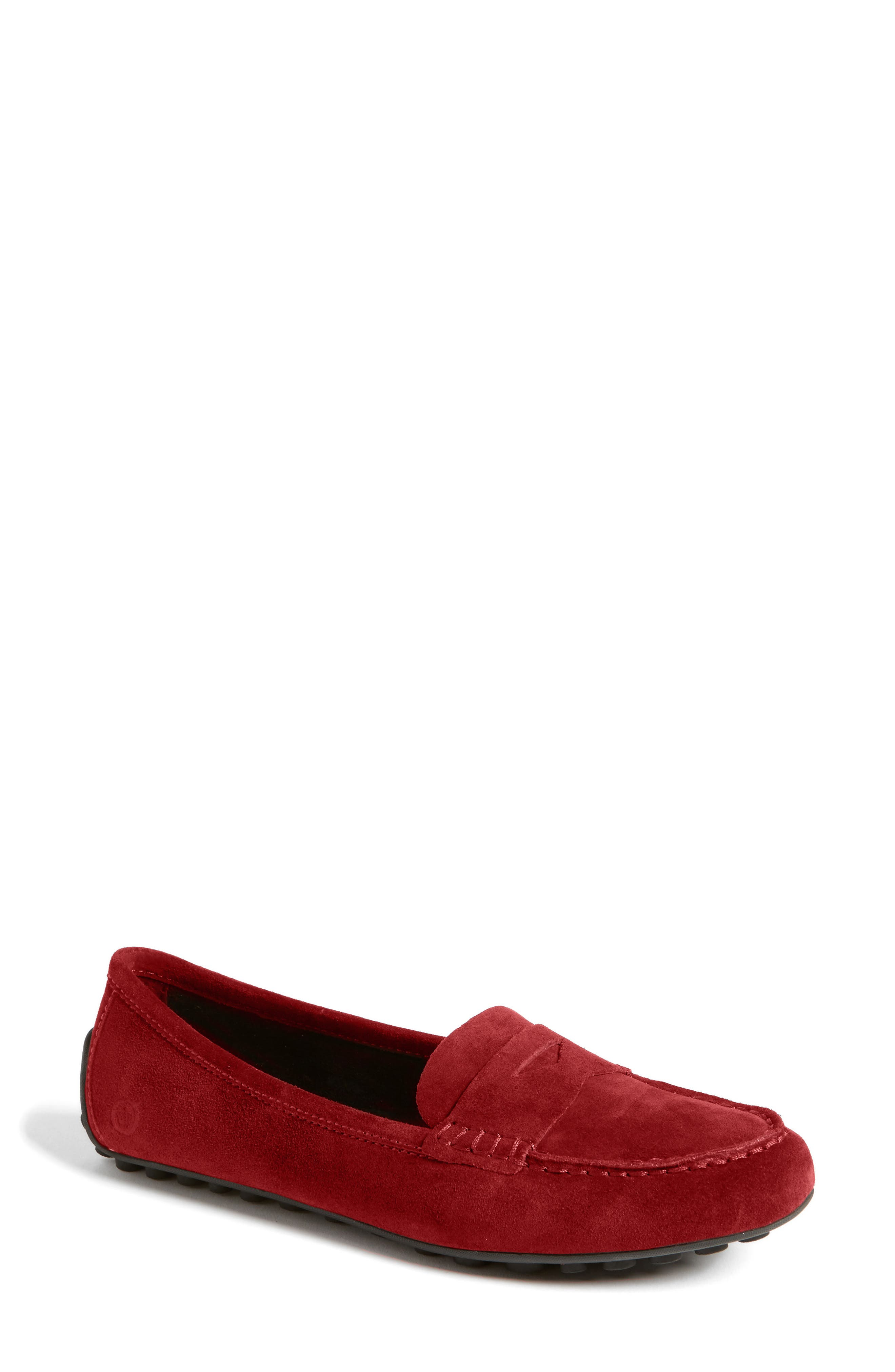 BØRN,                             Malena Penny Loafer,                             Main thumbnail 1, color,                             RED SUEDE