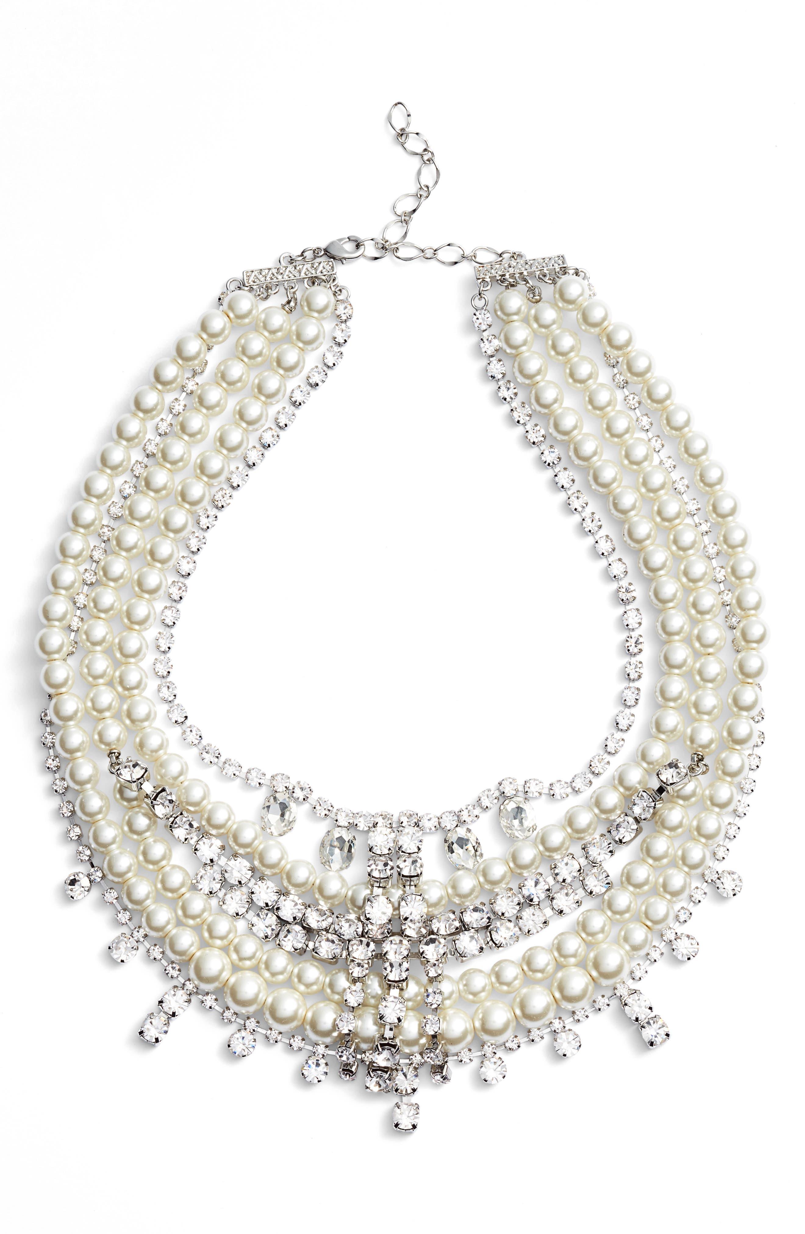 Crystal & Imitation Pearl Multistrand Necklace,                             Main thumbnail 1, color,                             SILVER