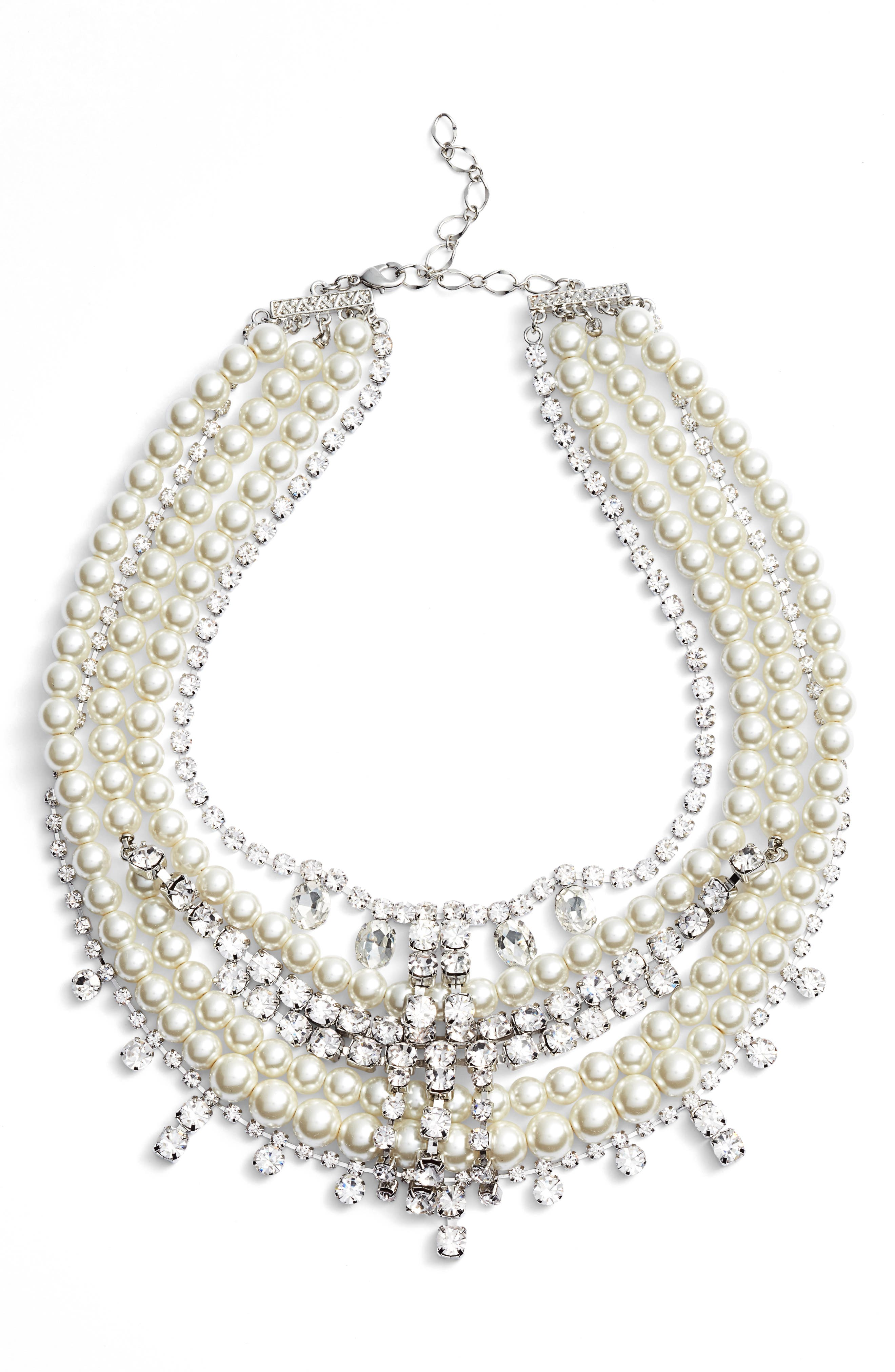 Crystal & Imitation Pearl Multistrand Necklace,                         Main,                         color, SILVER