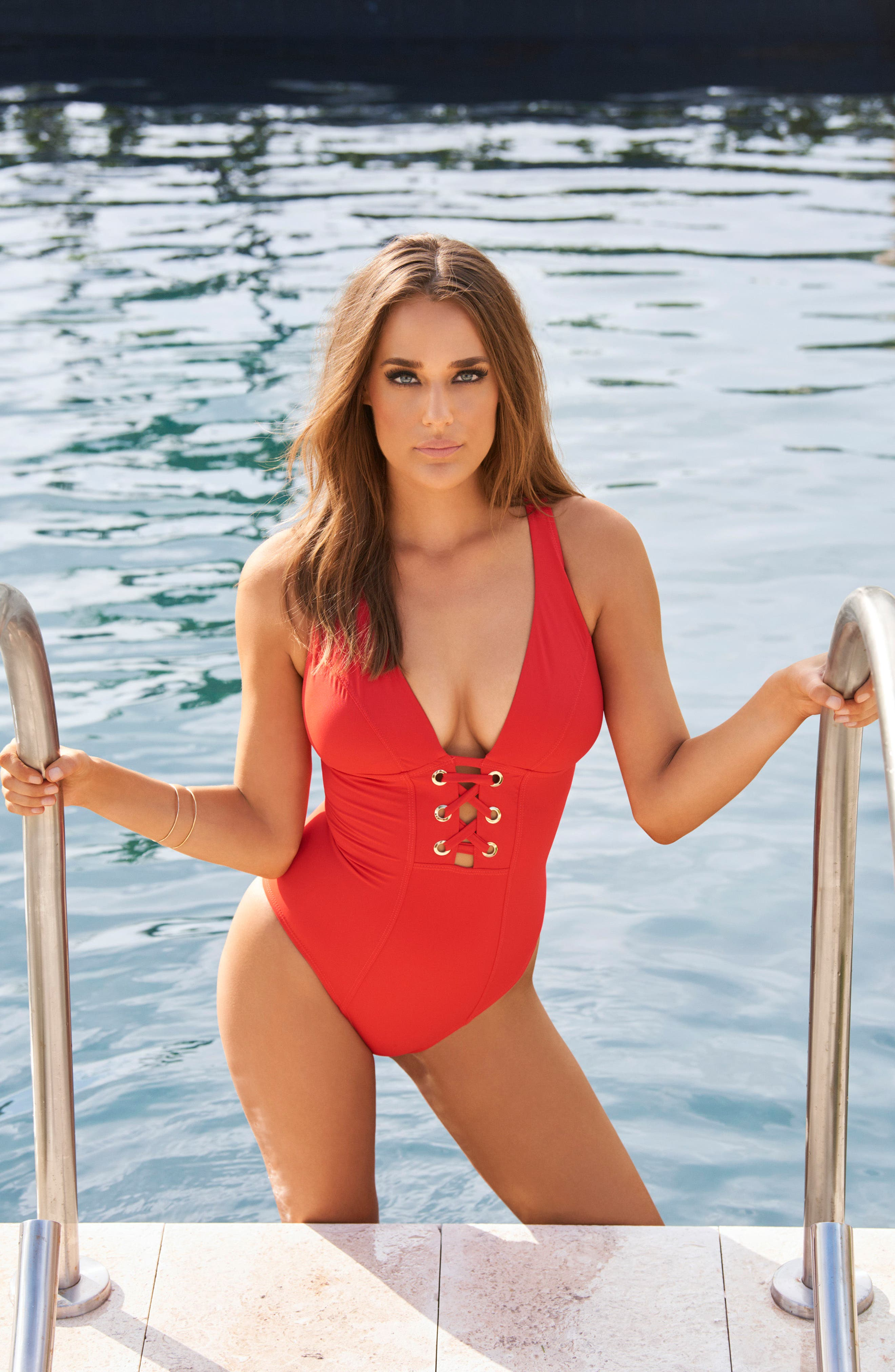 AMORESSA,                             Stella Cassiopeia One-Piece Swimsuit,                             Alternate thumbnail 5, color,                             BASH RED