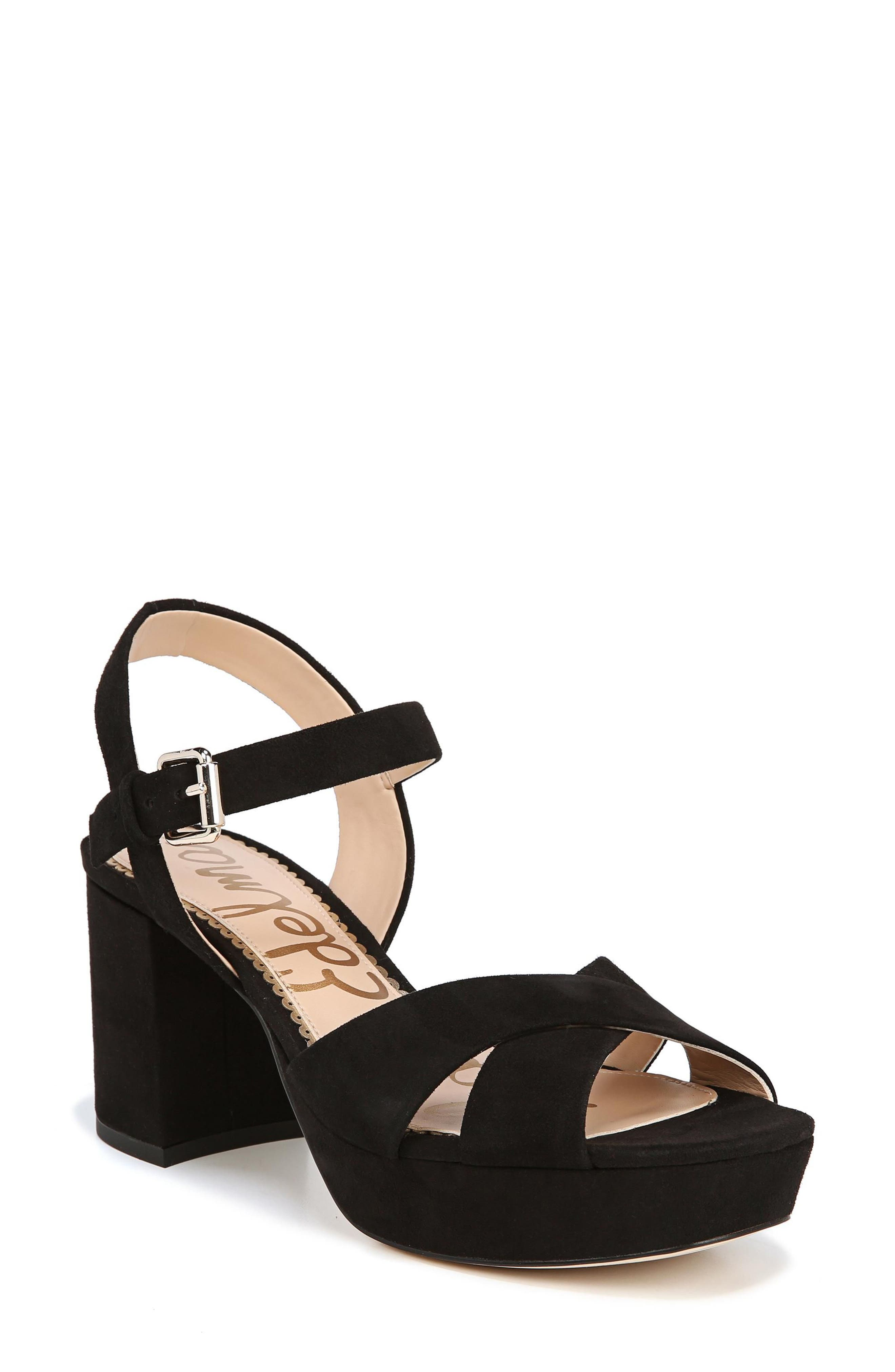 Jolene Platform Sandal,                             Main thumbnail 1, color,                             BLACK SUEDE