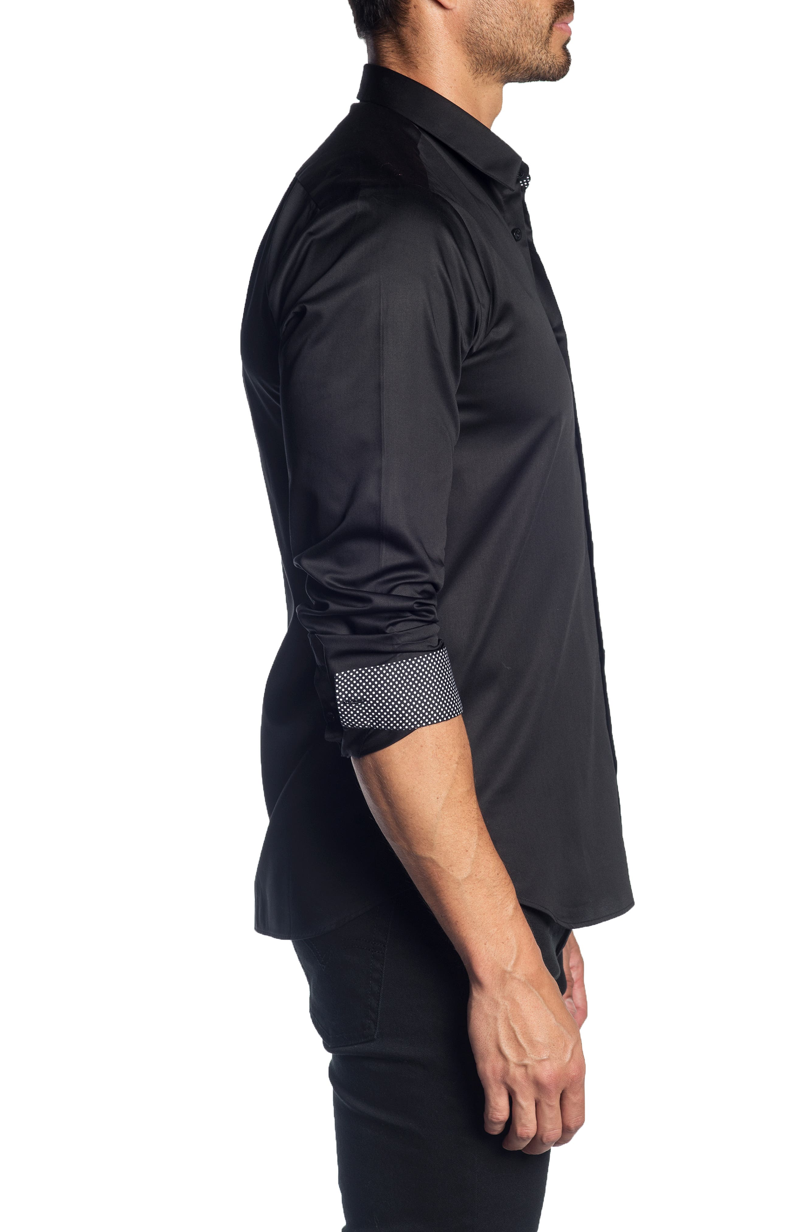 JARED LANG,                             Trim Fit Solid Sport Shirt,                             Alternate thumbnail 3, color,                             001