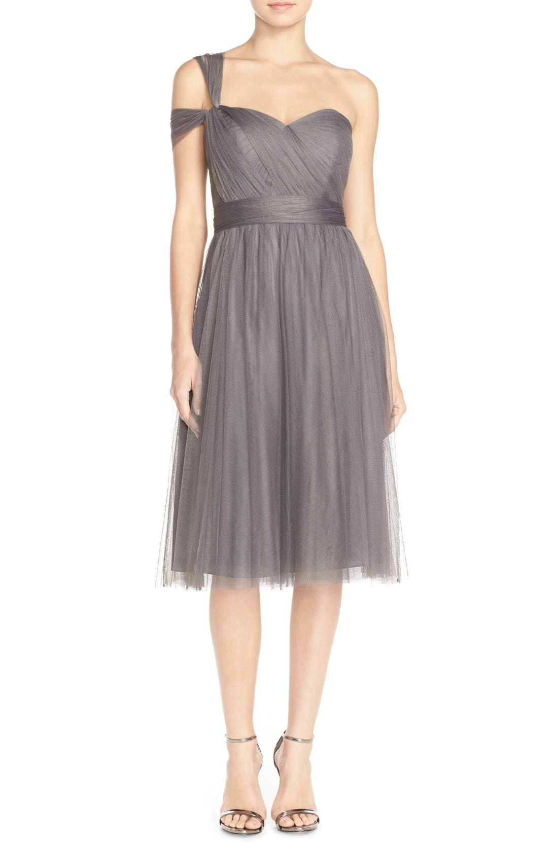 Maia Convertible Tulle Tea Length Fit & Flare Dress,                             Alternate thumbnail 4, color,                             028