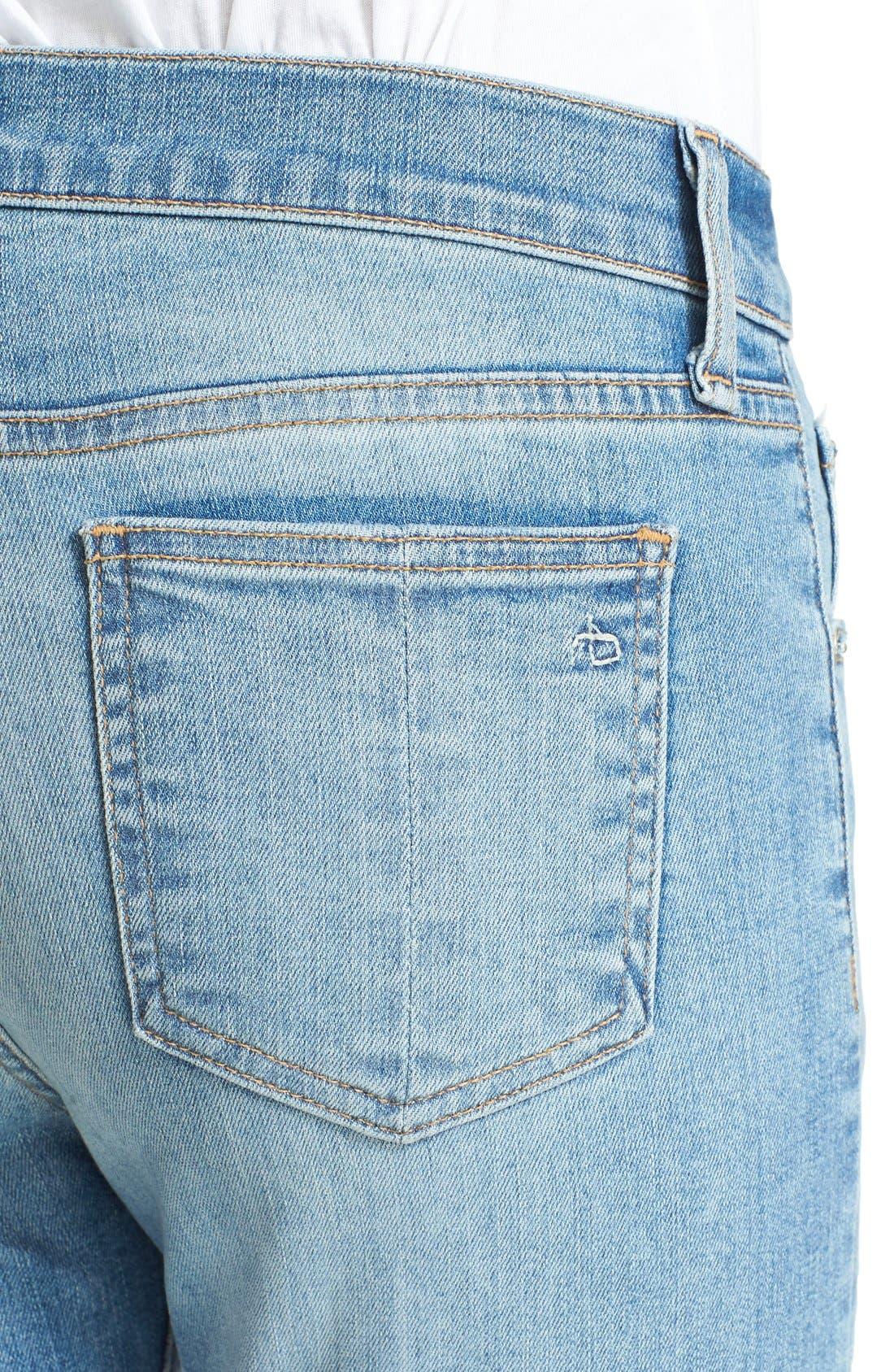 RAG & BONE,                             JEAN Distressed Crop Flare Jeans,                             Alternate thumbnail 4, color,                             451